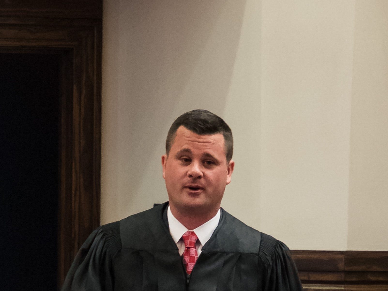 Lamar County Court and Youth Court Judge Brad Touchstone delivers a few remarks during his investiture ceremony in Purvis on Wednesday, Jan. 2, 2019.