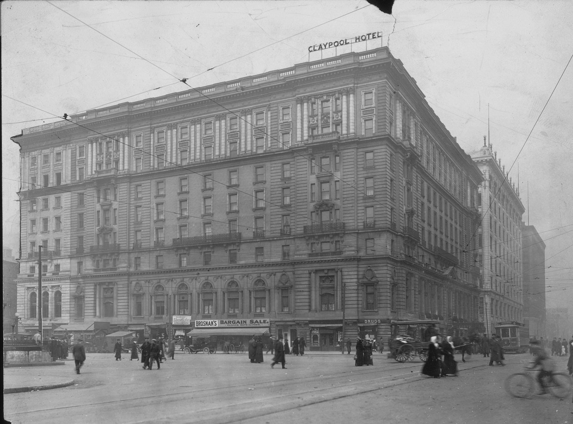 The Claypool Hotel was built in 1903 on the northwest corner of Washington and Illinois Streets, on the site of the old Bates House, where President Abraham Lincoln addressed a crowd in 1861. Many political decisions were made in the hotelÕs smoked-filled rooms. It was razed in 1969.