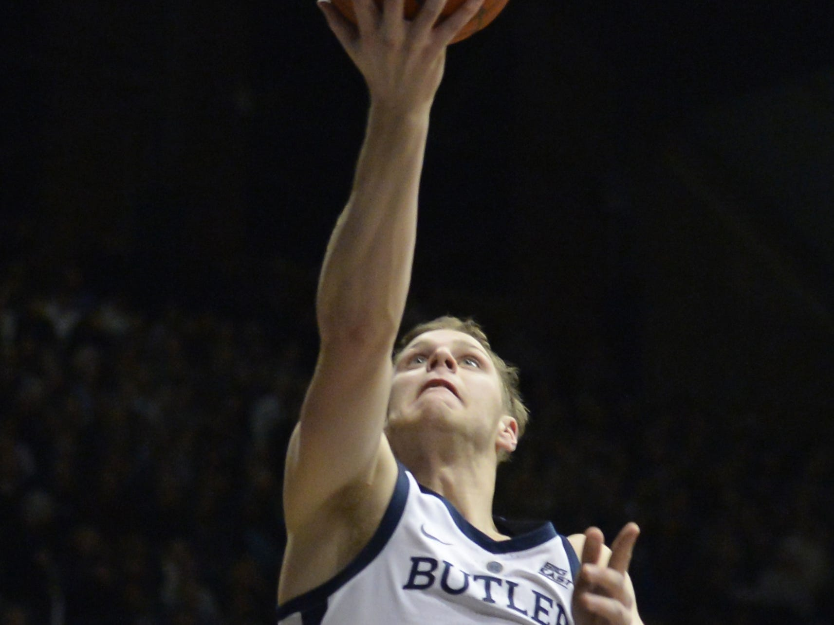 Butler Bulldogs guard Paul Jorgensen (5) puts the ball up during the first half of game action between Butler University and Georgetown University, at Hinkle Fieldhouse in Indianapolis, Indiana on Wednesday, Jan. 2, 2019. The Butler Bulldogs fell to the Georgetown Hoyas 84-76.