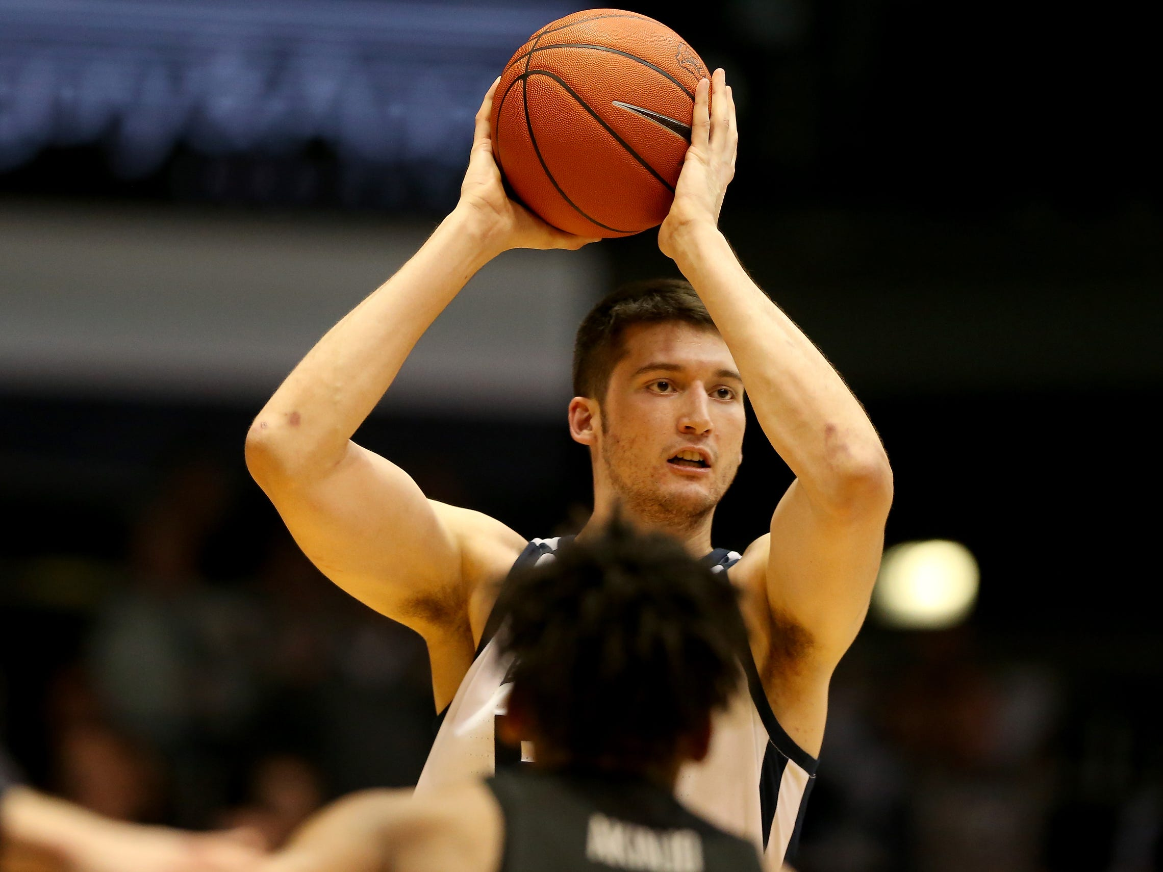 Butler Bulldogs forward Nate Fowler (51) looks for an outlet against the Georgetown Hoyas during the second half of game action between Butler University and Georgetown University, at Hinkle Fieldhouse in Indianapolis, Indiana on Wednesday, Jan. 2, 2019. The Butler Bulldogs fell to the Georgetown Hoyas 84-76.