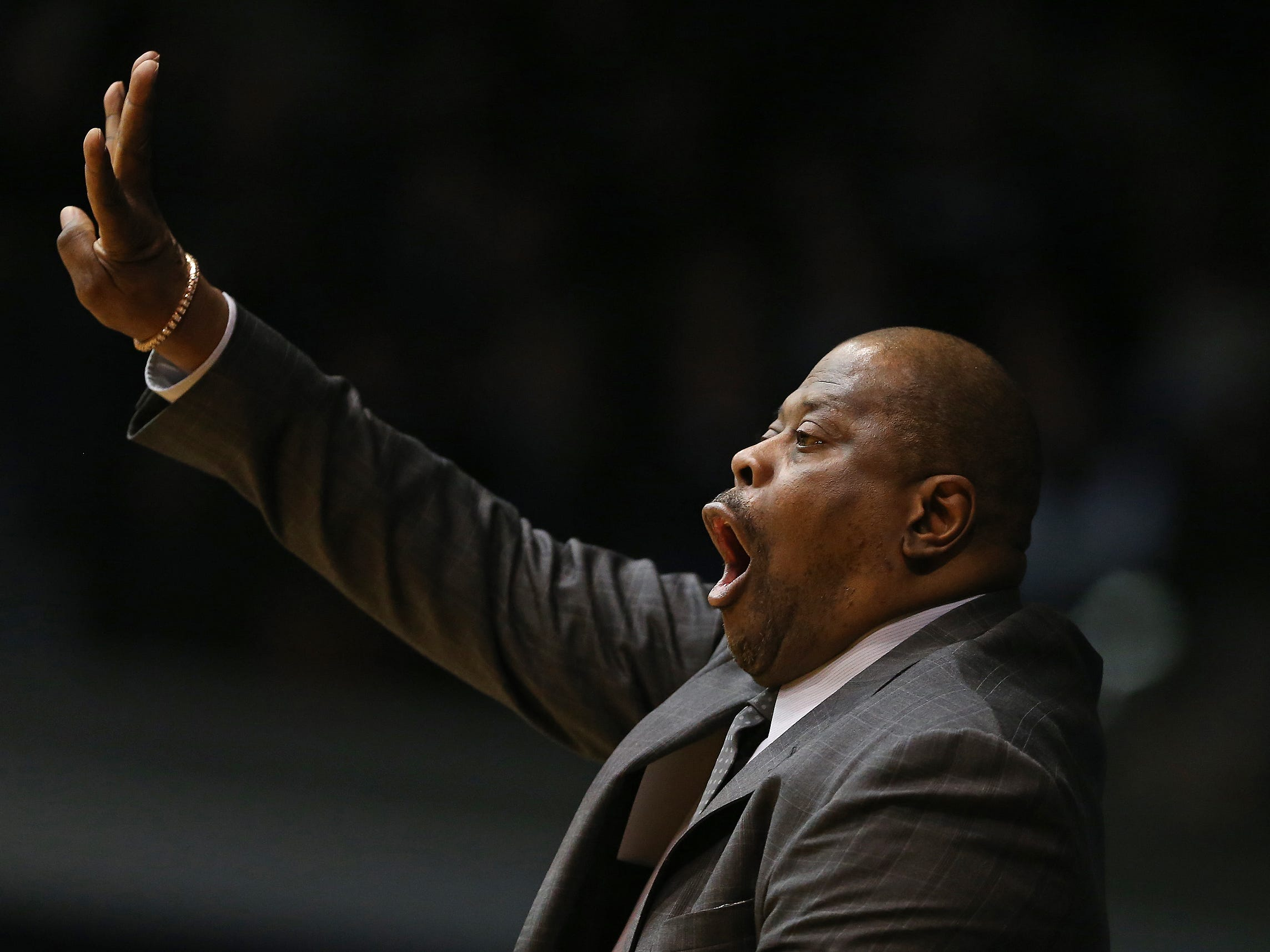 Georgetown Hoyas head coach Patrick Ewing calls a play against the Butler Bulldogs during the first half of game action between Butler University and Georgetown University, at Hinkle Fieldhouse in Indianapolis, Indiana on Wednesday, Jan. 2, 2019.