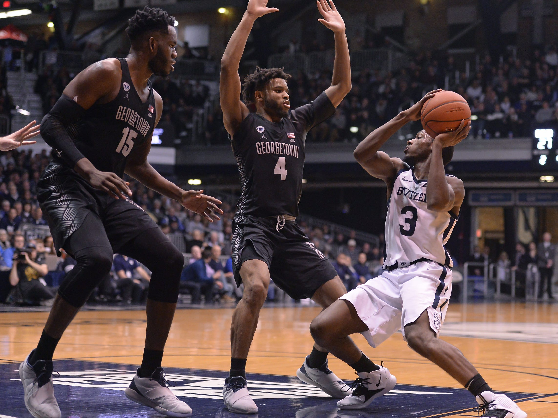 Butler Bulldogs guard Kamar Baldwin (3) looks for an outlet while guarded by Georgetown Hoyas guard Jagan Mosely (4) during the first half of game action between Butler University and Georgetown University, at Hinkle Fieldhouse in Indianapolis, Indiana on Wednesday, Jan. 2, 2019. The Butler Bulldogs fell to the Georgetown Hoyas 84-76.