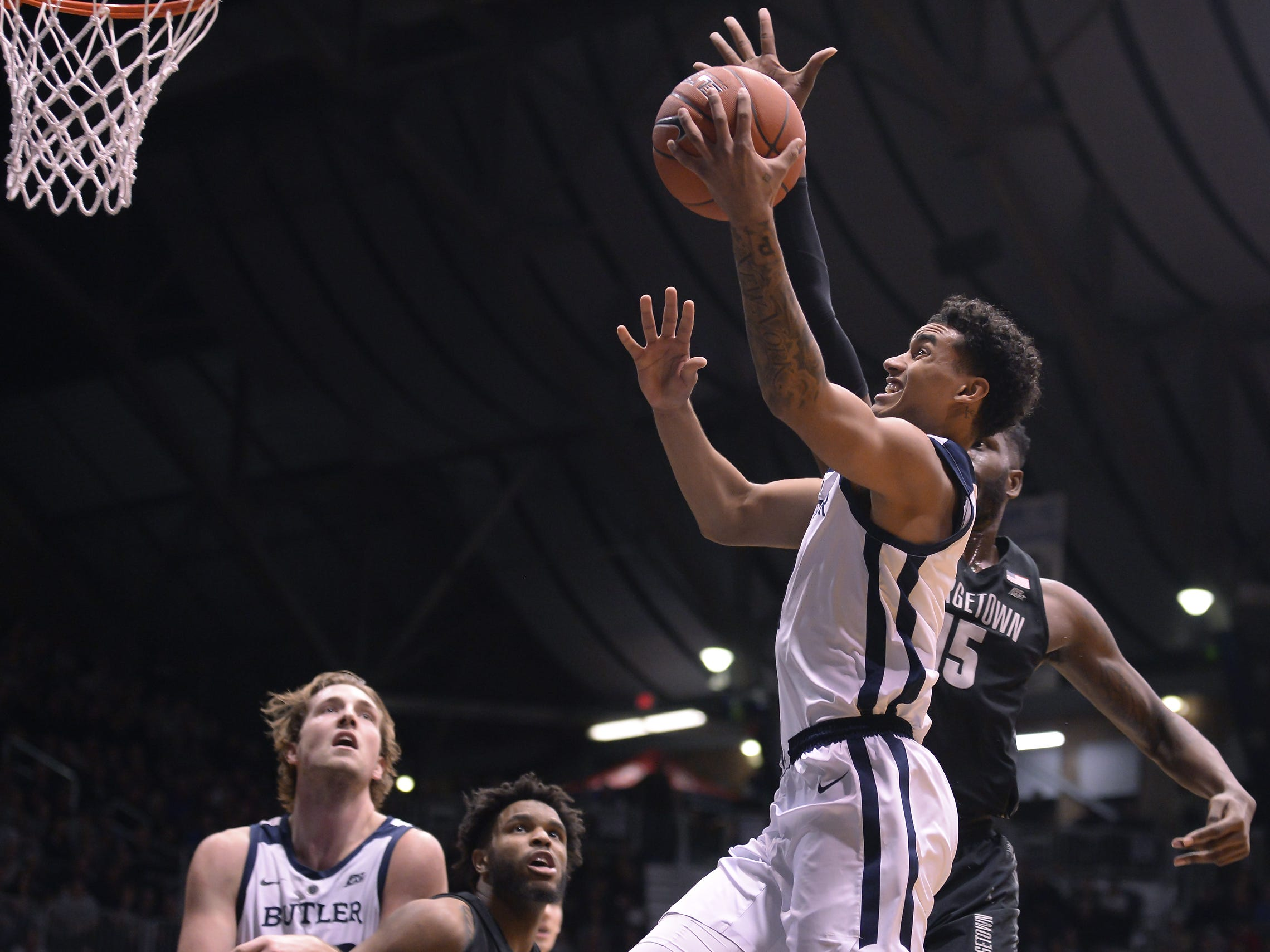 Butler Bulldogs forward Jordan Tucker (1) scores during the first half of game action between Butler University and Georgetown University, at Hinkle Fieldhouse in Indianapolis, Indiana on Wednesday, Jan. 2, 2019.