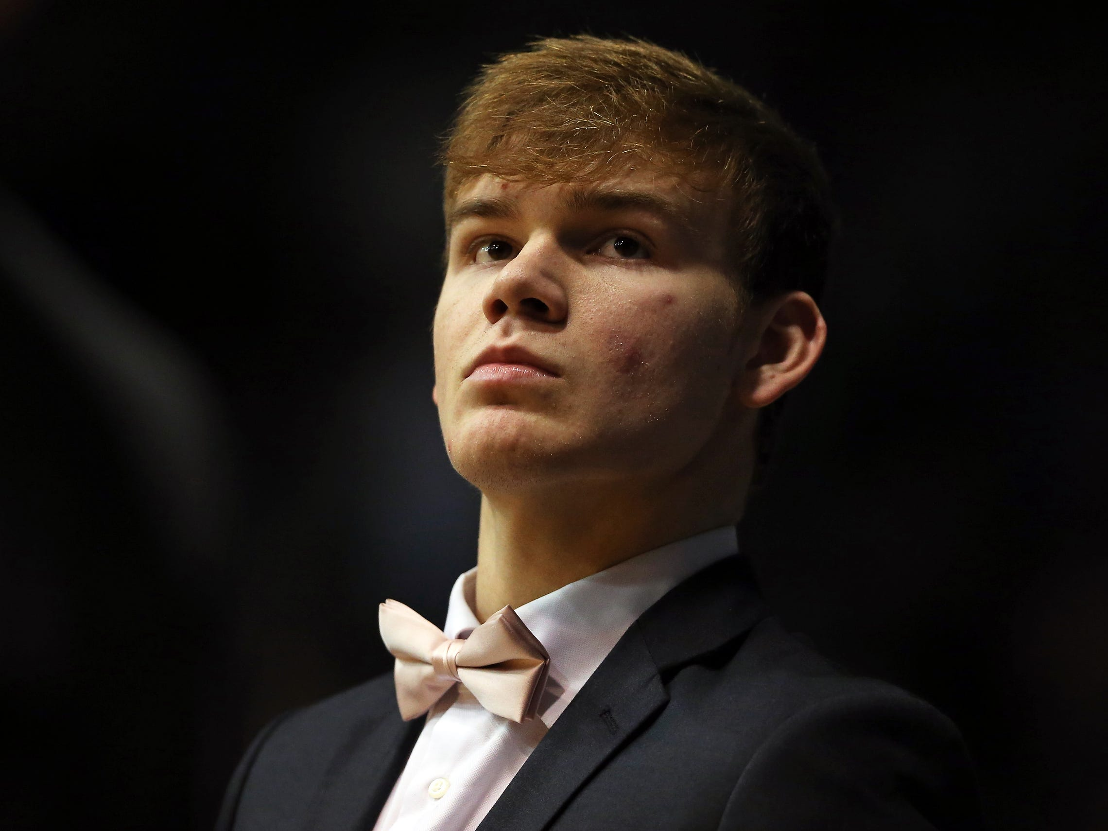 Georgetown Hoyas guard Mac McClung (2) sits out during the game between Butler University and Georgetown University, at Hinkle Fieldhouse in Indianapolis, Indiana on Wednesday, Jan. 2, 2019.