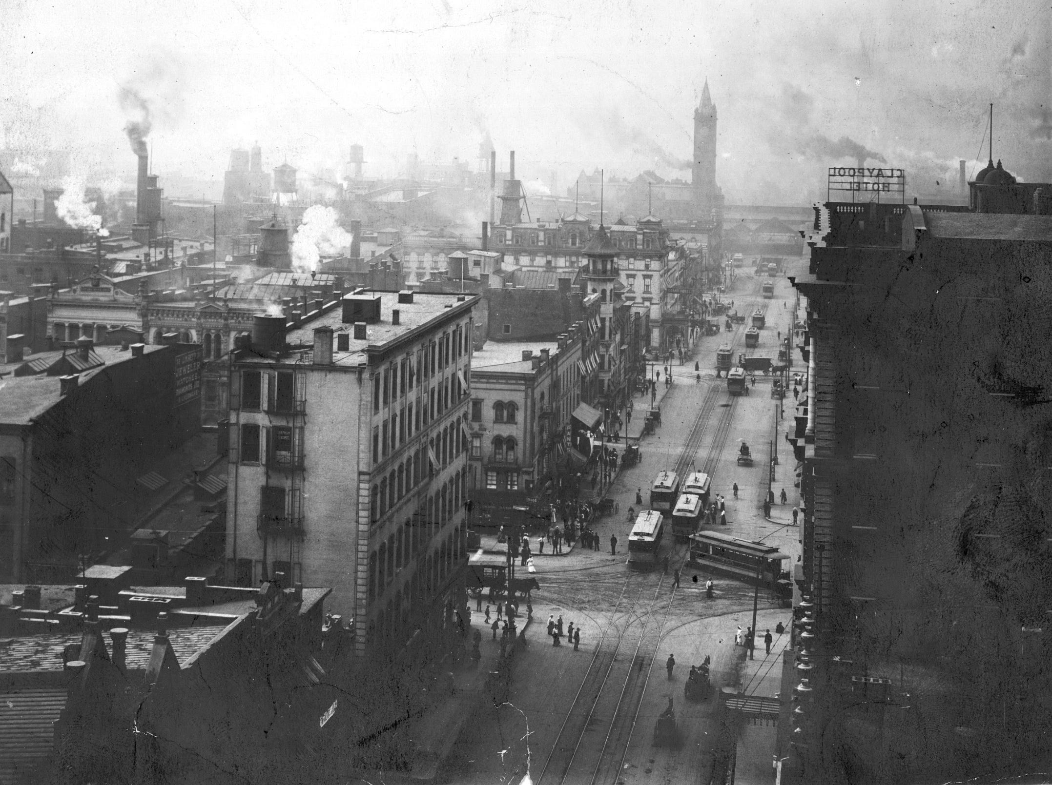 A busy thoroughfare today, Illinois Street was bustling just after the turn of the century, too. This 1905 view is looking south toward Union Station (background) from the Washington Street intersection. The Grand Hotel is the light-colored building on the southeast corner of Ilinois and Maryland, one street south of Washington Street. The Claypool Hotel, built in 1903 at Washington and Illinois Streets, is at right in the foreground.