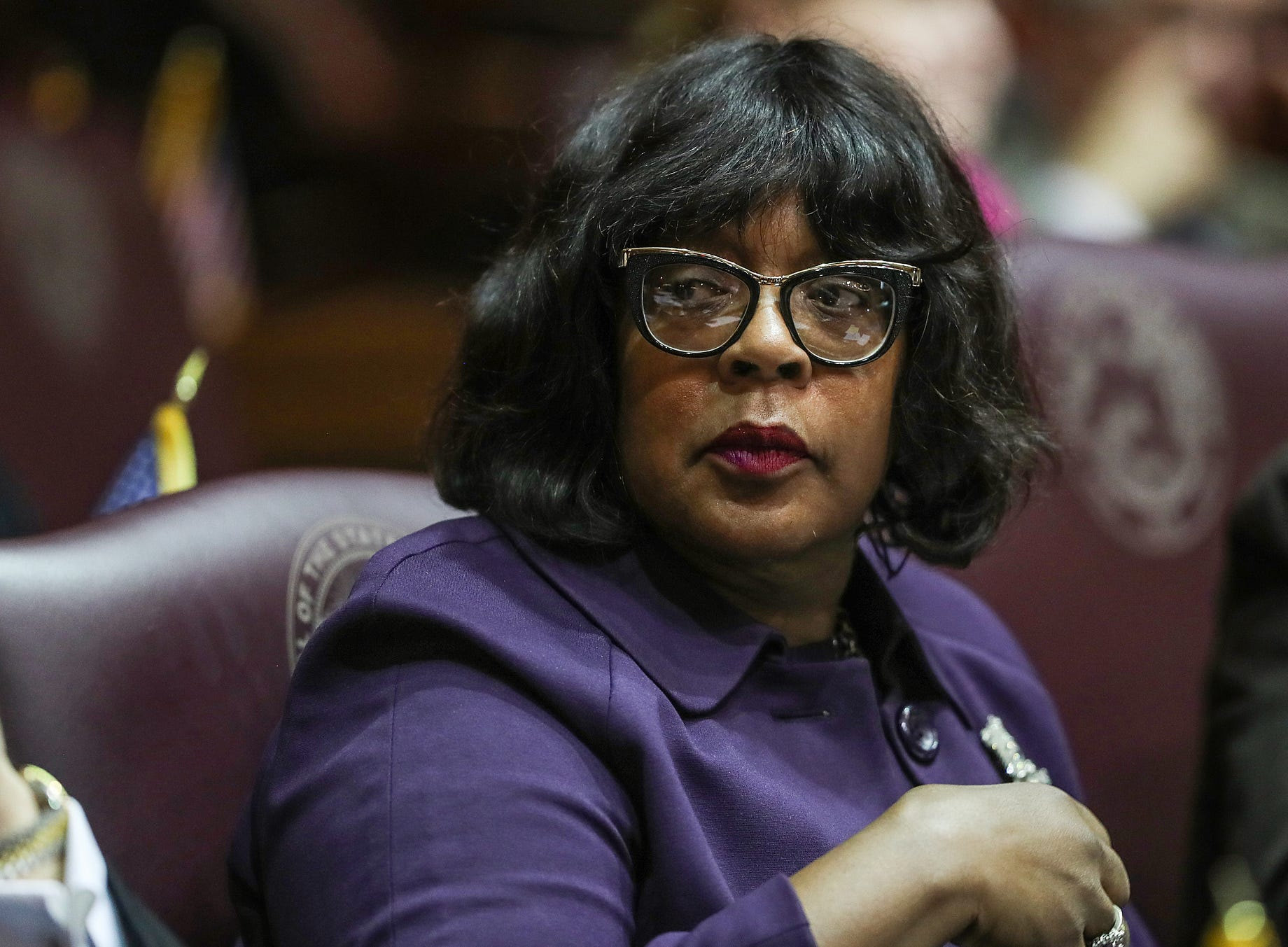 Rep. Carolyn Jackson seen on the starting day of legislative session at the Indiana Statehouse, Indianapolis, Thursday, Jan. 3, 2019.