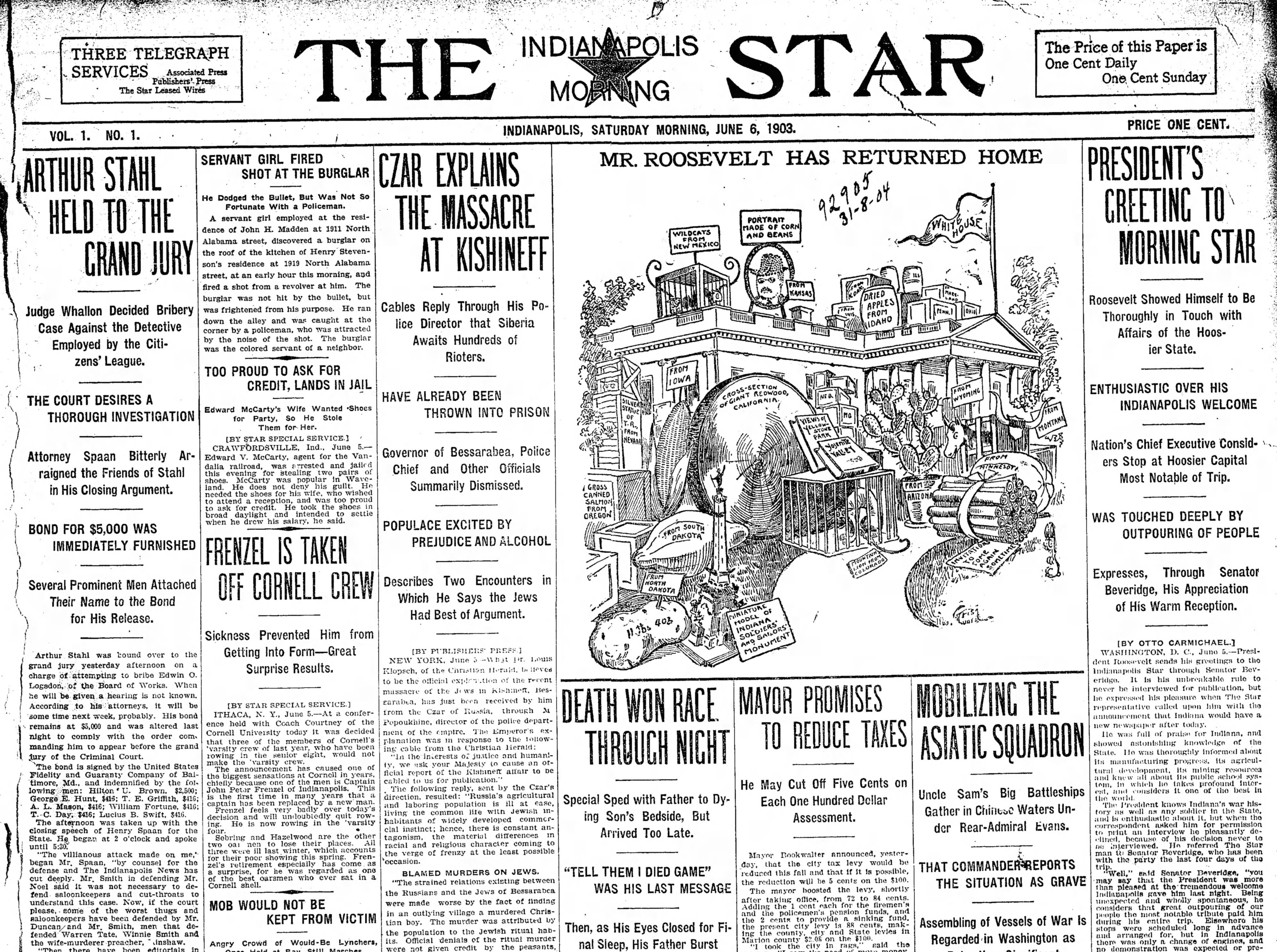 June 6, 1903 - first edition of The Indianapolis Star
