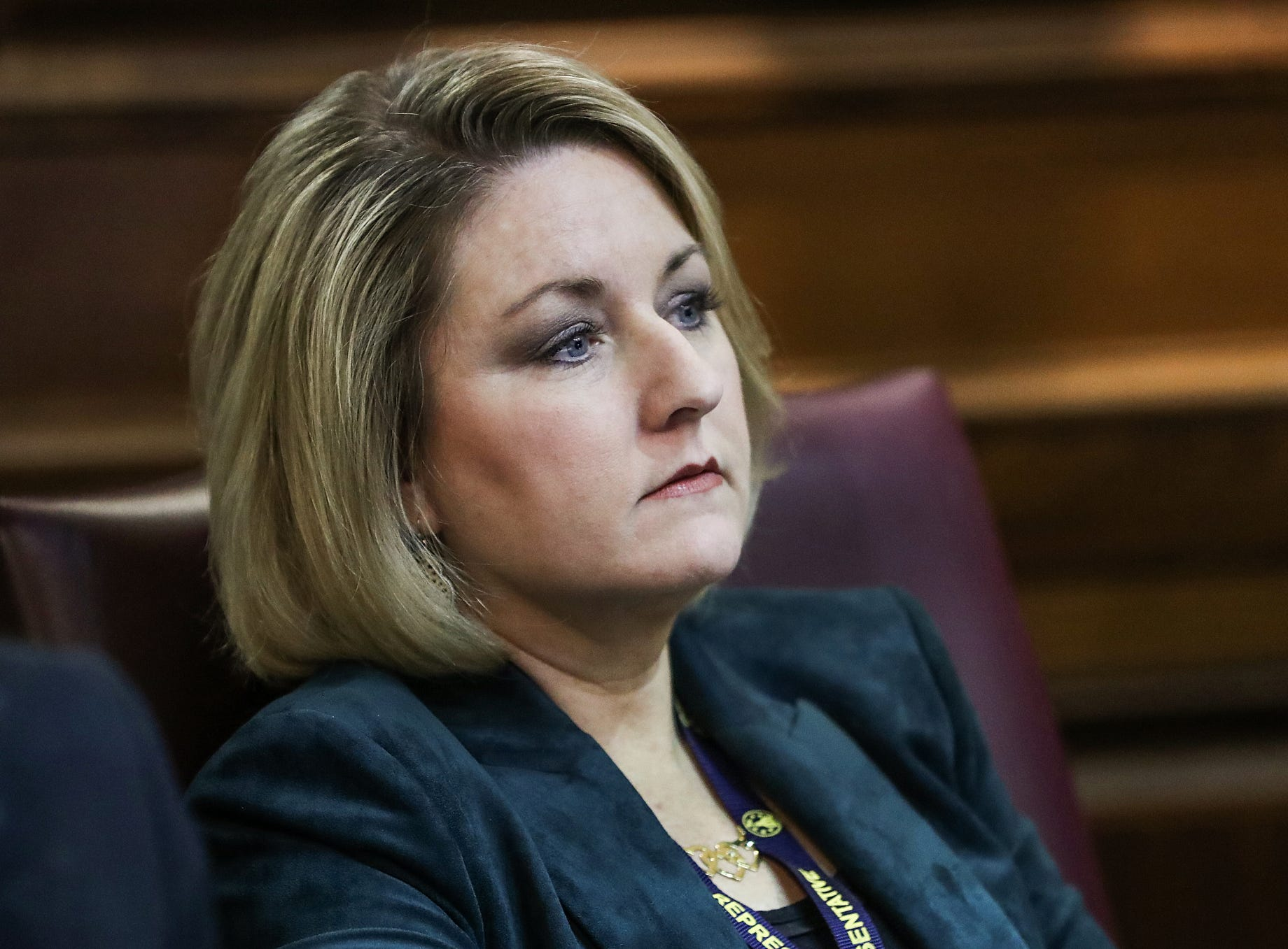 Rep. Christy Stutzman listens to speakers on the starting day of legislative session at the Indiana Statehouse, Indianapolis, Thursday, Jan. 3, 2019.