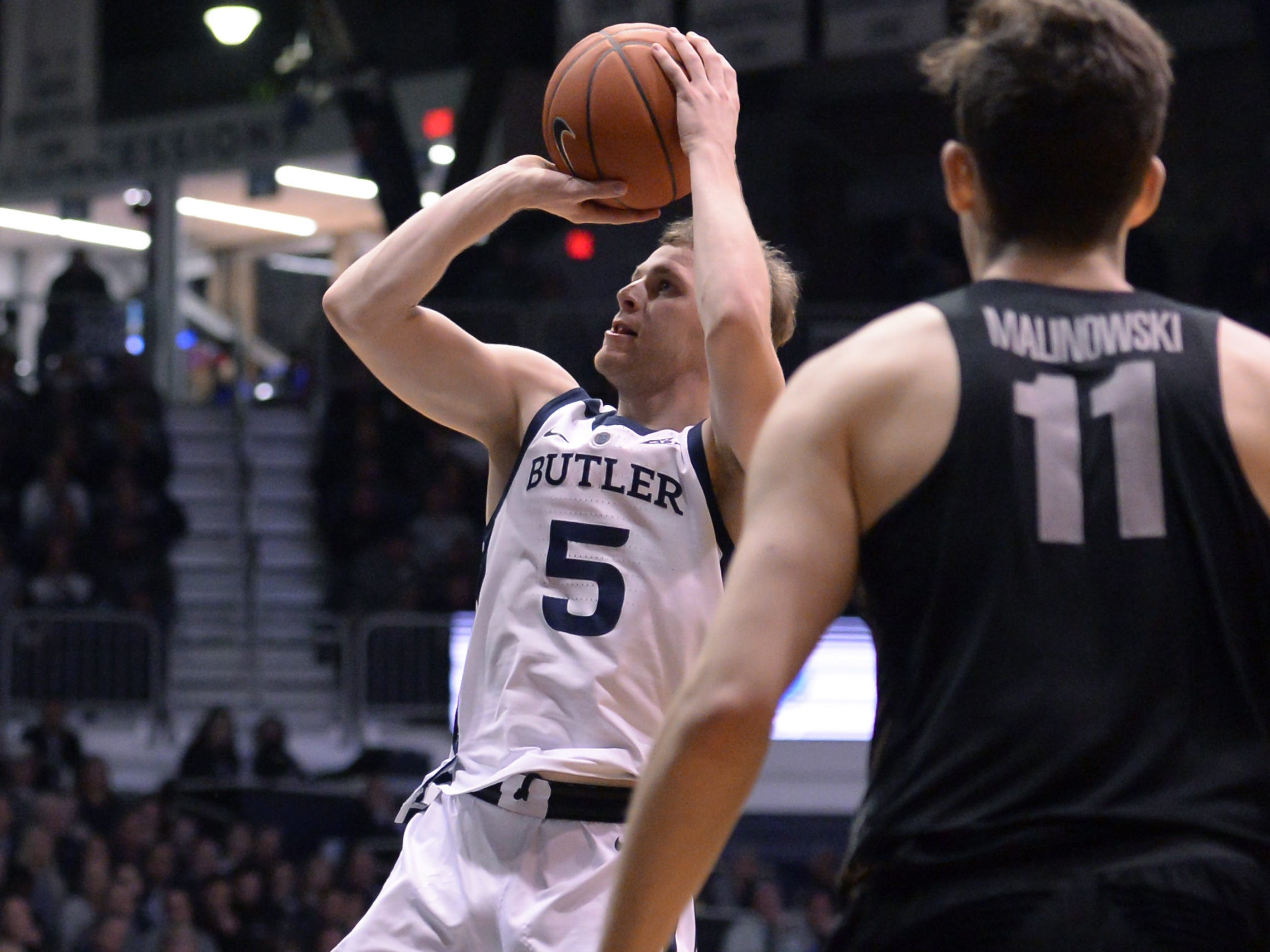 Butler Bulldogs guard Paul Jorgensen (5) pulls-up a shot during the second half of game action between Butler University and Georgetown University, at Hinkle Fieldhouse in Indianapolis, Indiana on Wednesday, Jan. 2, 2019. The Butler Bulldogs fell to the Georgetown Hoyas 84-76.