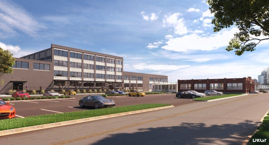A rendering of the exterior of North Mass Boulder at 1409 Roosevelt Ave.