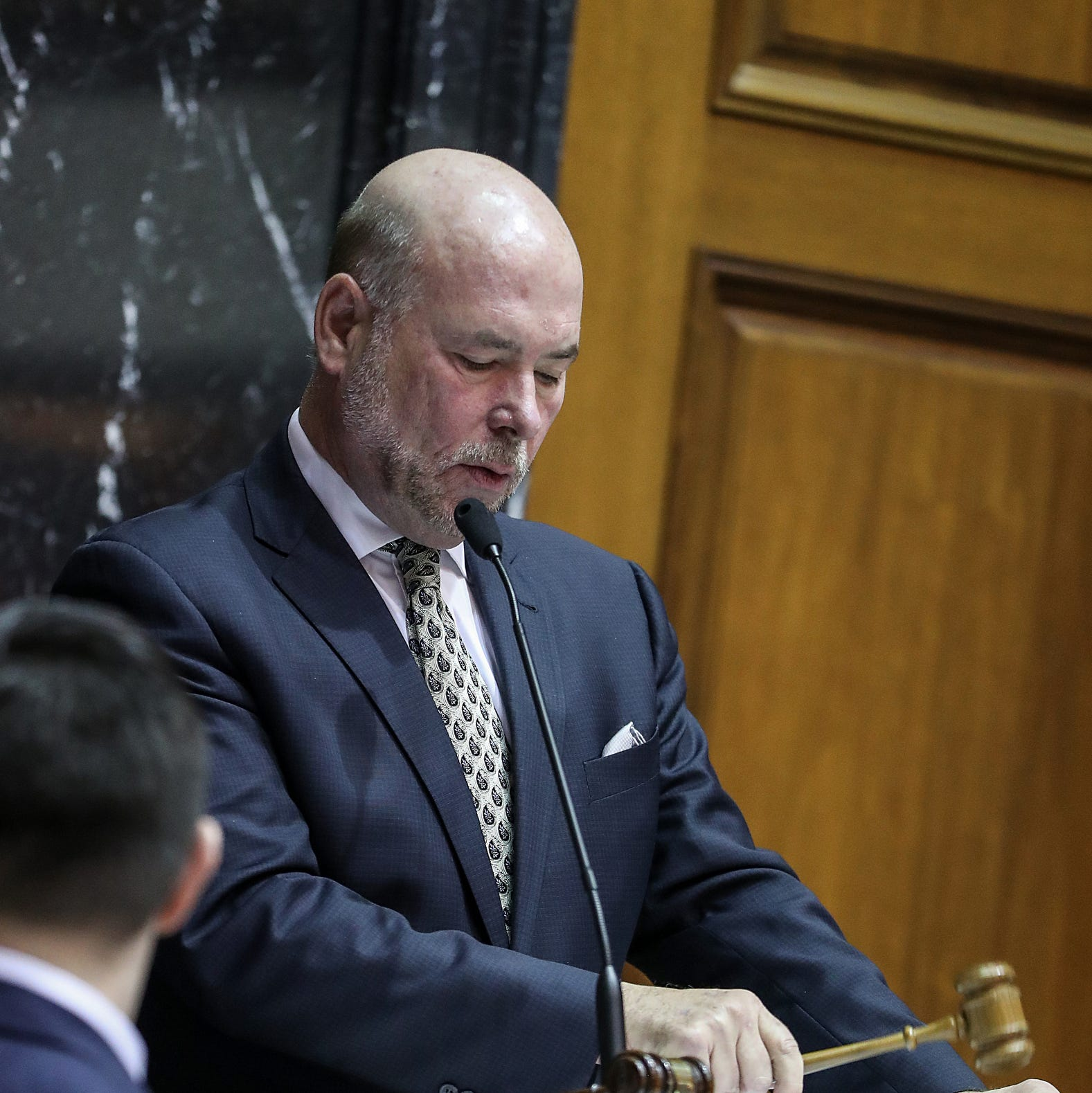 Speaker of the House Brian Bosma taps the gavel on the starting day of legislative session at the Indiana Statehouse, Indianapolis, Thursday, Jan. 3, 2019.