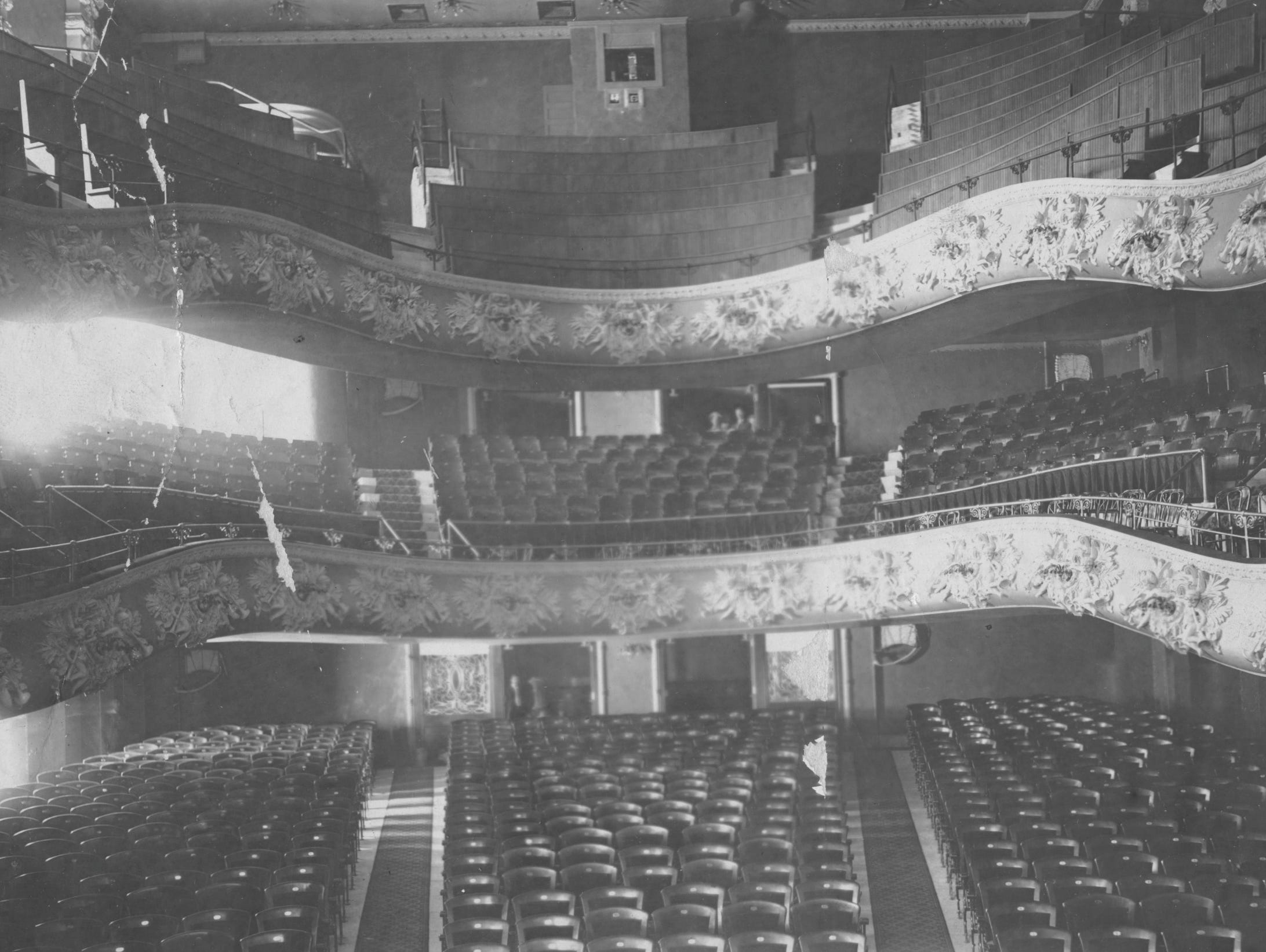 view from the stage of the Majestic Theatre on South Illinois Street in 1907.
