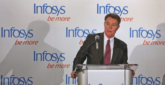 Mayor Joe Hogsett speaks at the ribbon cutting event for the Infosys tech and innovation hub in March 2018.