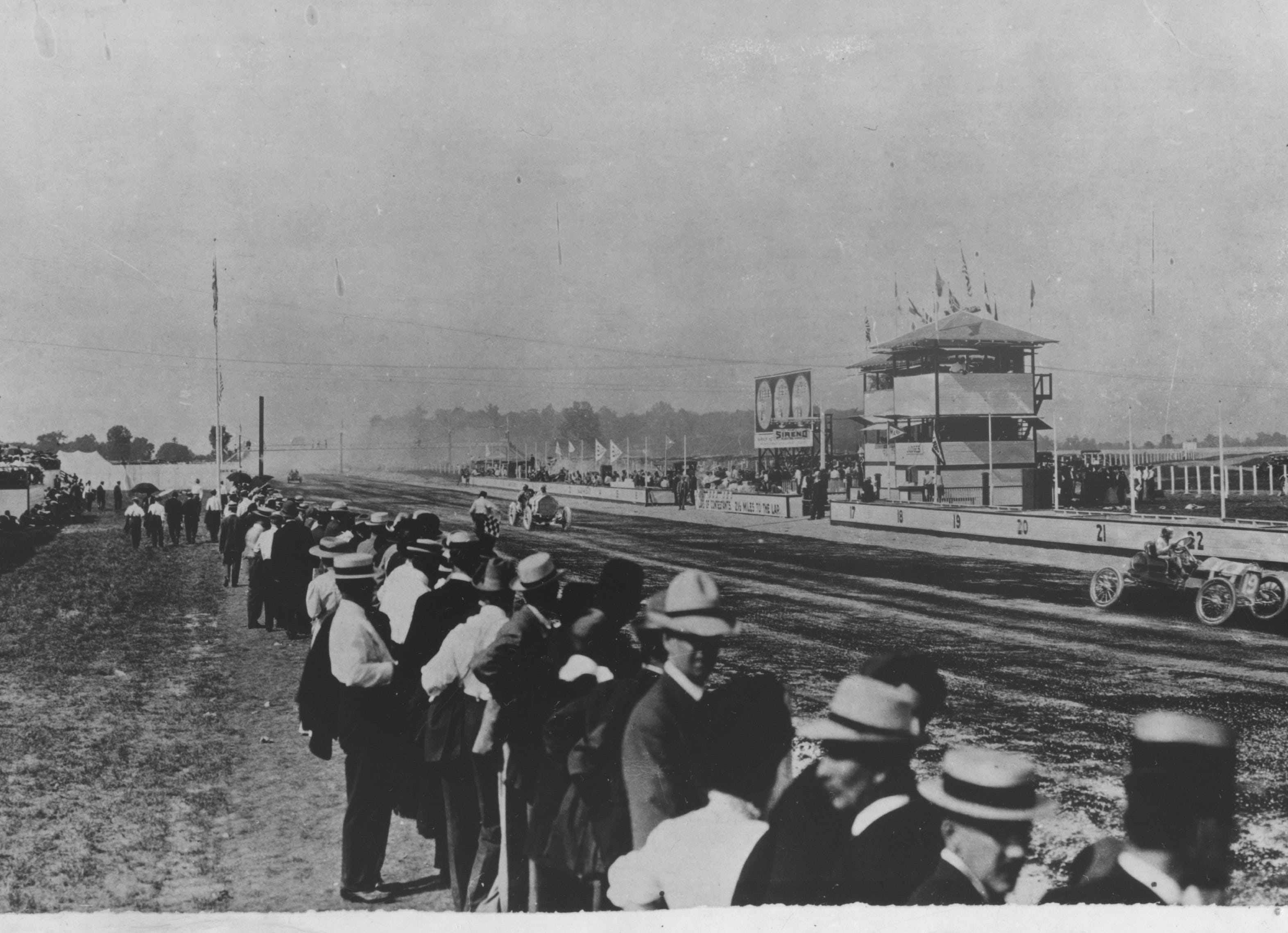 16,000 people witnessed opening races at the Indianapolis Motor Speedway on August 19, 1909.