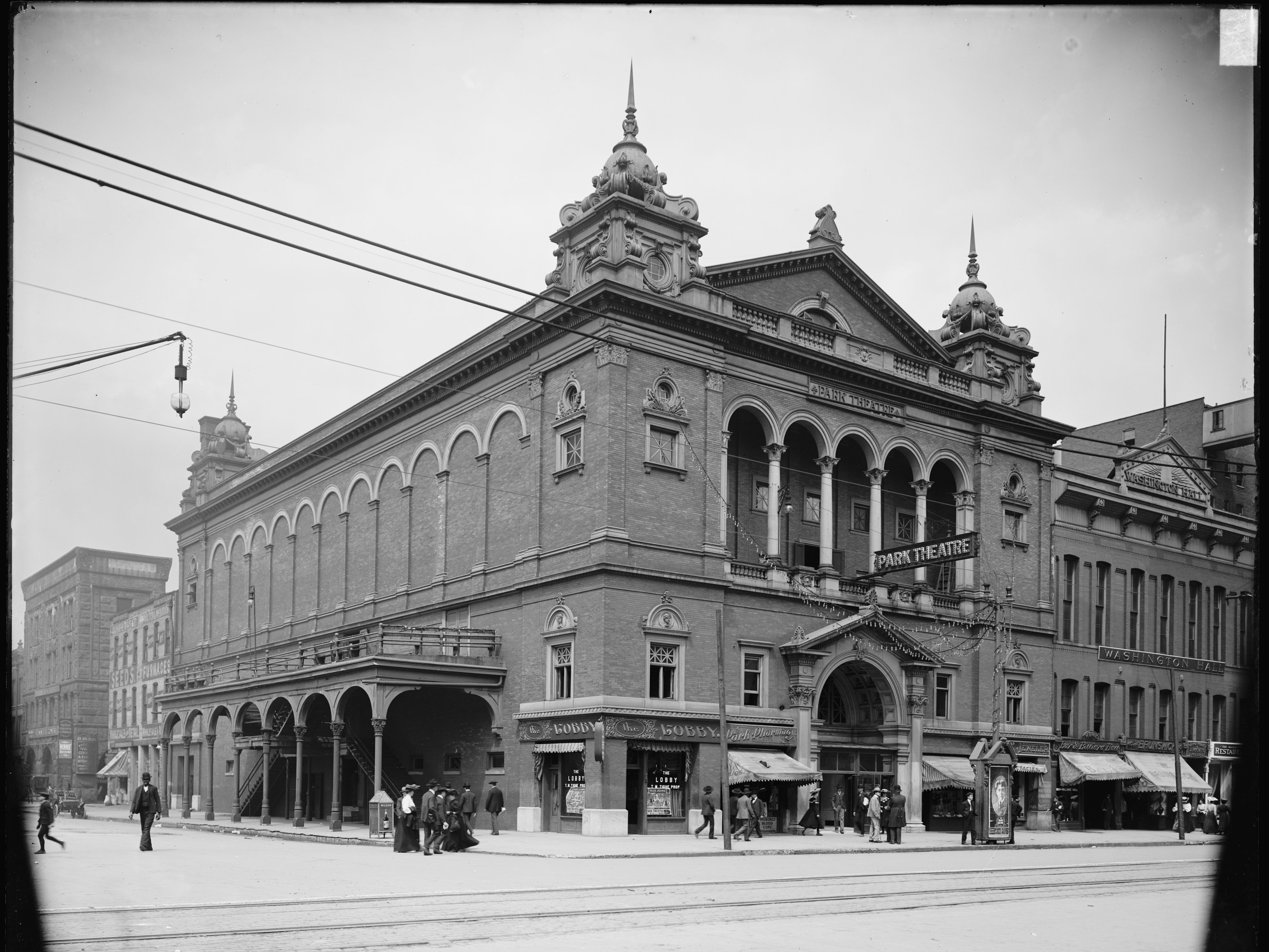 The Park Theater on Washington and Capitol was the city's first building constructed as a theater (named the Metropolitan in 1858). The date on the photo indicates it was circa 1905.