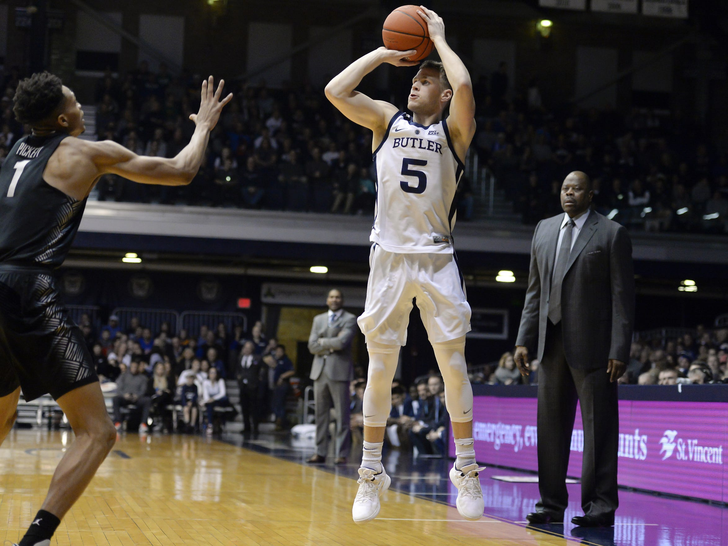 Butler Bulldogs guard Paul Jorgensen (5) puts up a shot against the Georgetown Hoyas during the first half of game action between Butler University and Georgetown University, at Hinkle Fieldhouse in Indianapolis, Indiana on Wednesday, Jan. 2, 2019.