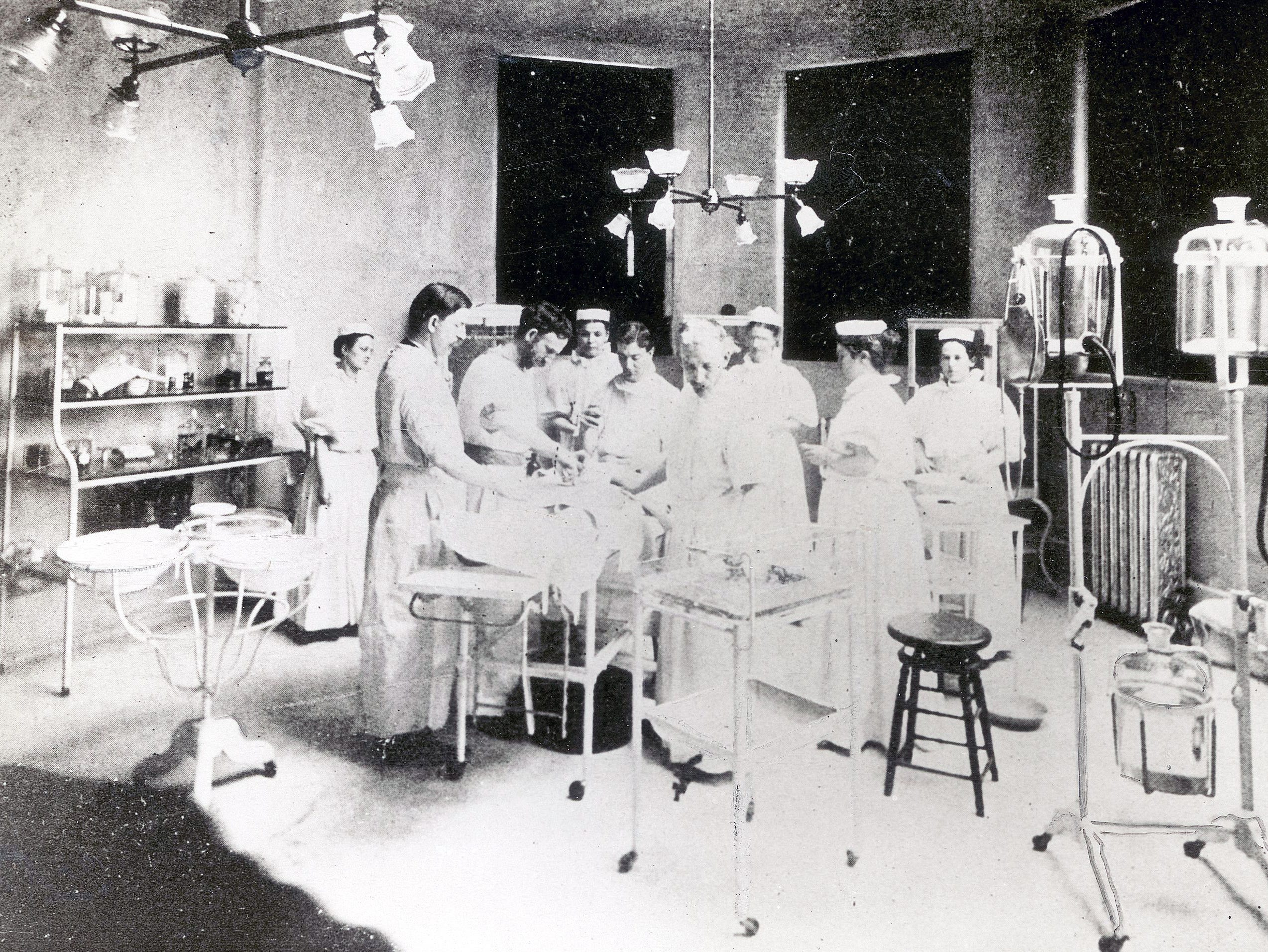 Operating room at the Marion County General Hospital (now Wishard), 1906.