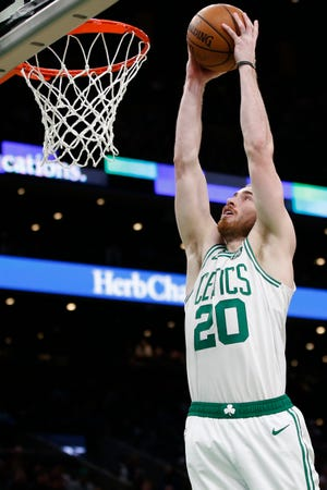 Jan 2, 2019; Boston, MA, USA; Boston Celtics forward Gordon Hayward (20) dunks the ball against the Minnesota Timberwolves during the second half at TD Garden.
