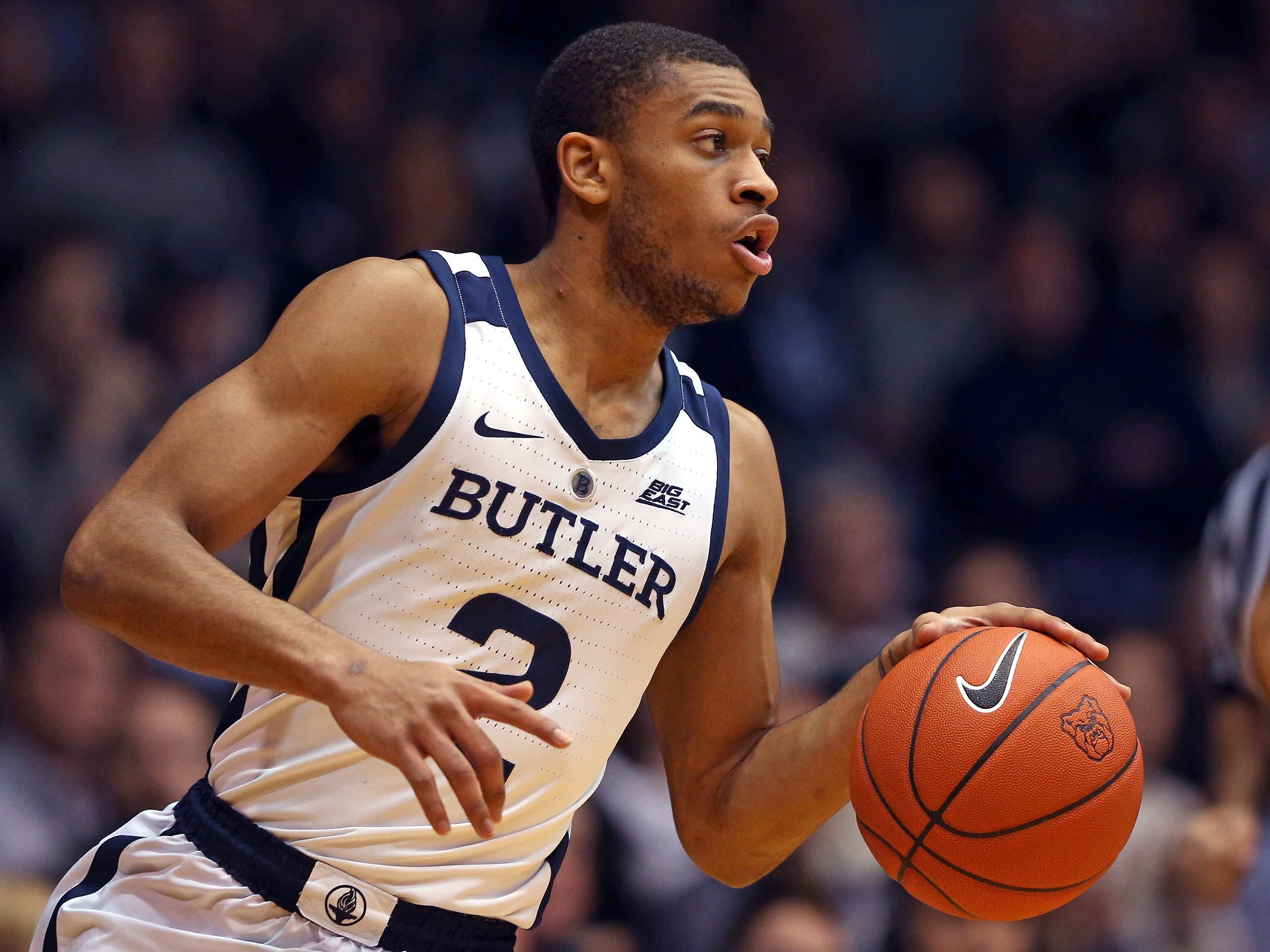 Butler Bulldogs guard Aaron Thompson (2) carries the ball against the Georgetown Hoyas during the first half of game action between Butler University and Georgetown University, at Hinkle Fieldhouse in Indianapolis, Indiana on Wednesday, Jan. 2, 2019.
