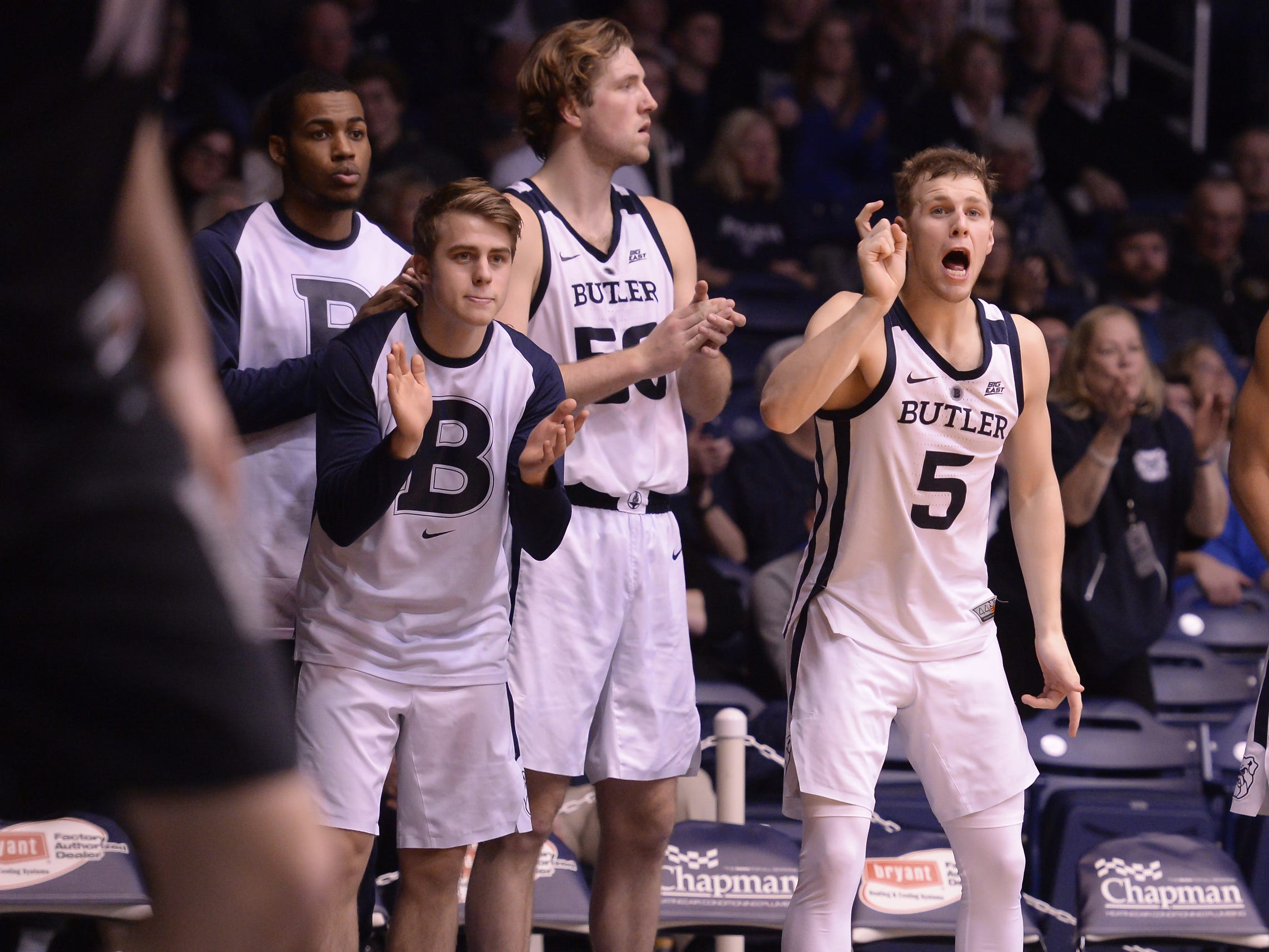 The Butler Bulldogs bench cheer on their team during the second half of game action between Butler University and Georgetown University, at Hinkle Fieldhouse in Indianapolis, Indiana on Wednesday, Jan. 2, 2019. The Butler Bulldogs fell to the Georgetown Hoyas 84-76.