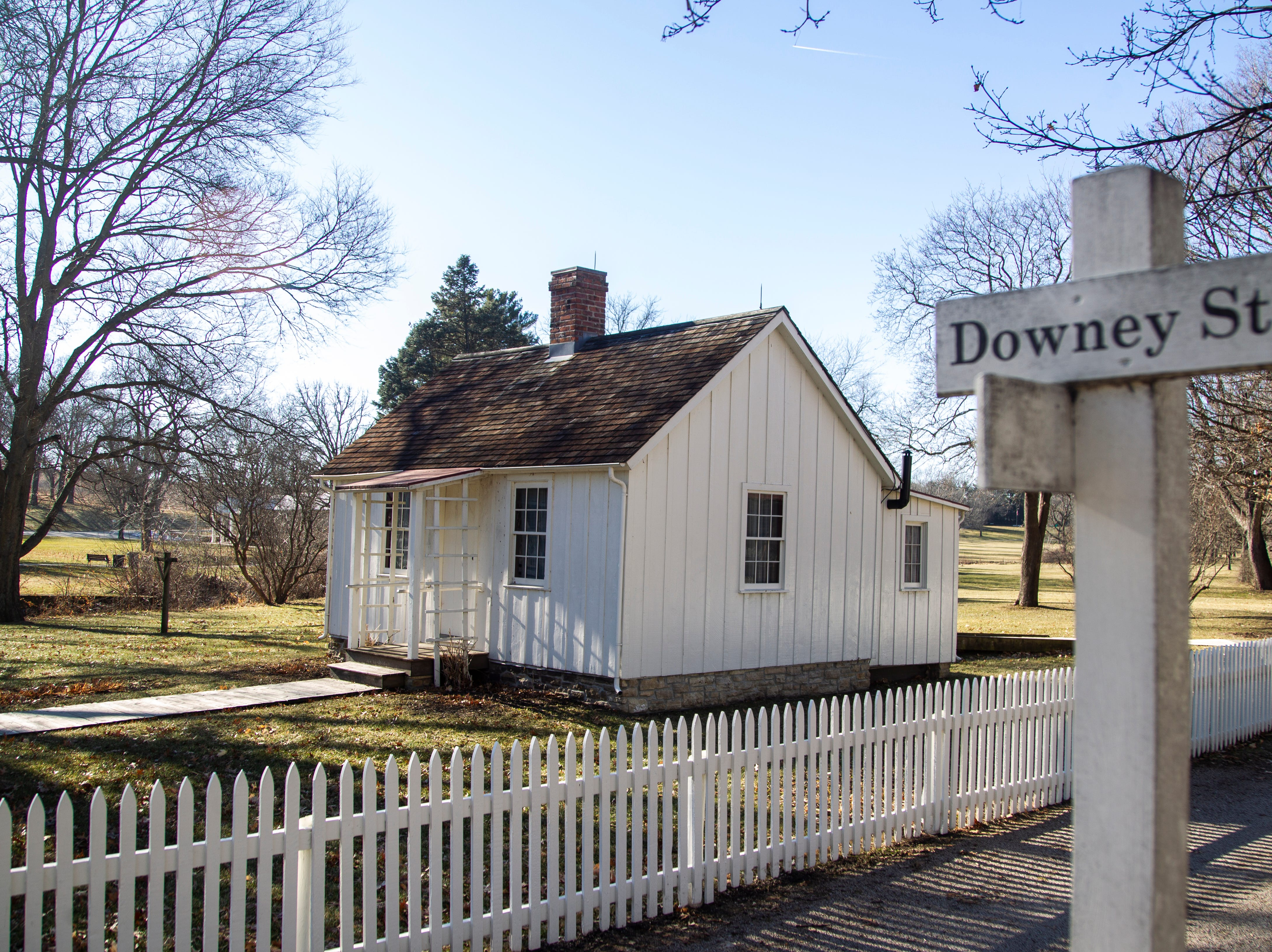 Herbert Hoover's childhood home is seen on Thursday, Jan. 3, 2019, at the Herbert Hoover National Historic Site in West Branch, Iowa.