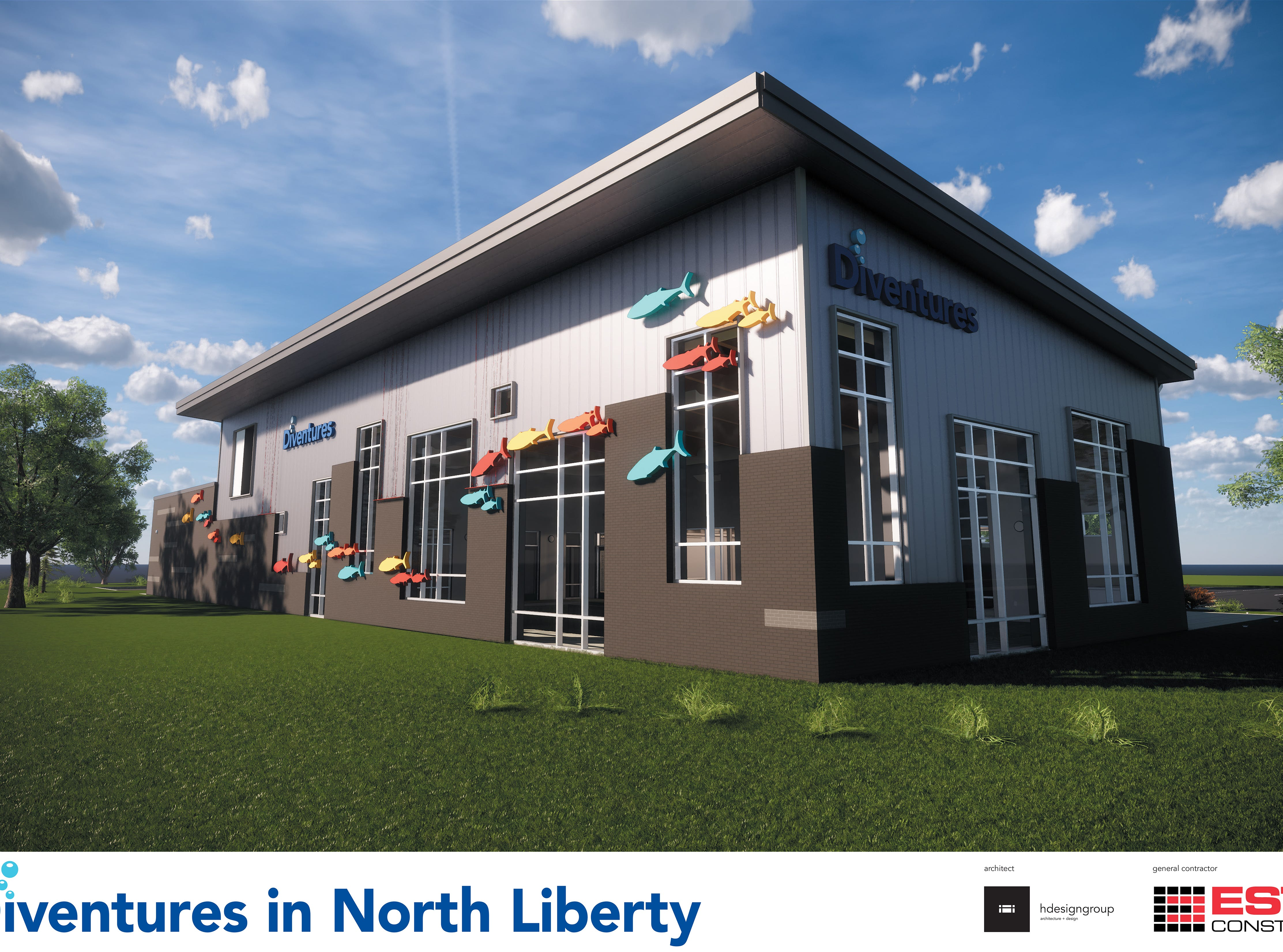 This 2019 rendering provided by Diventures shows the north-east side of its new location at 1895 West Penn Street in North Liberty, Iowa.