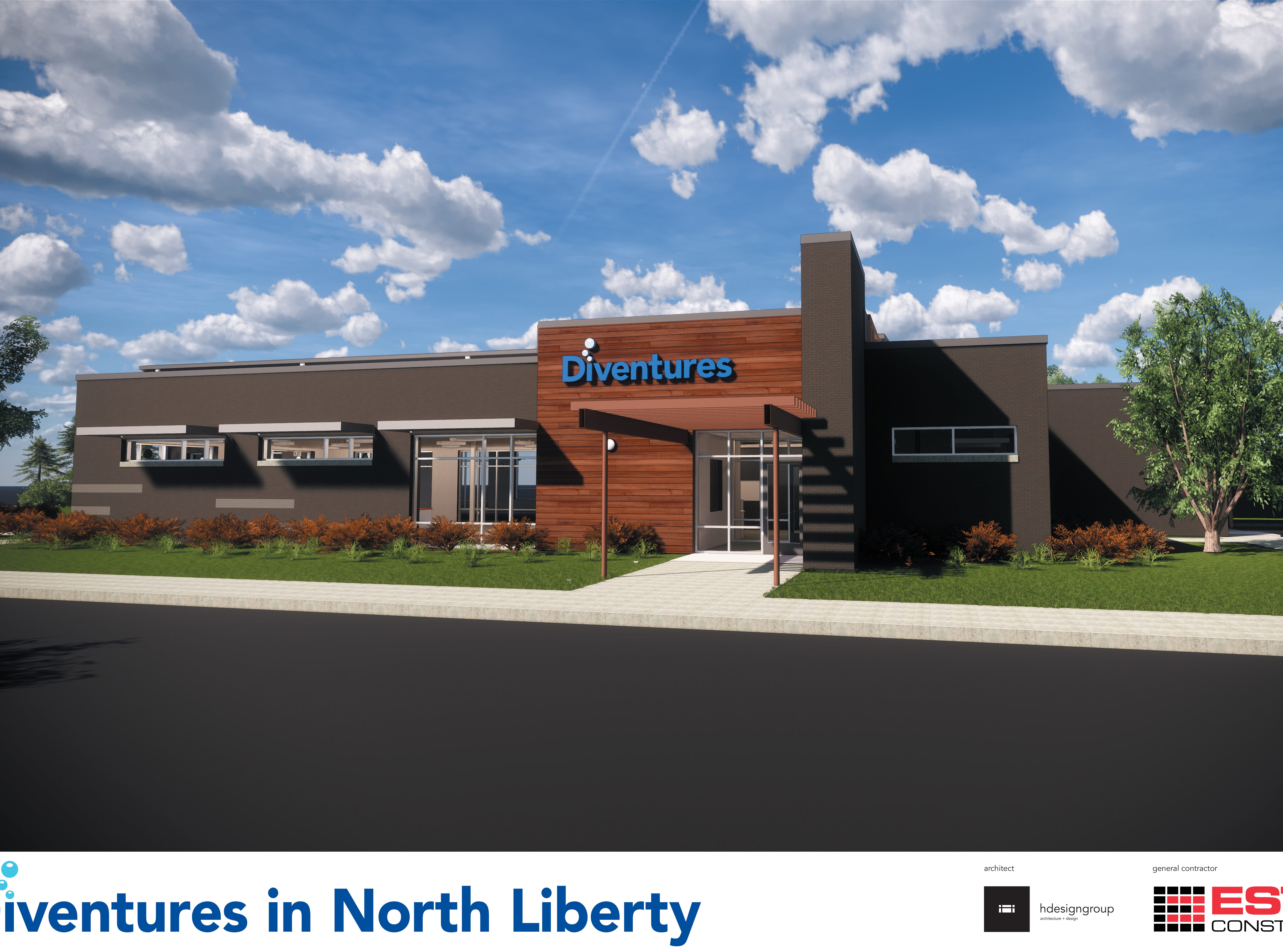 This 2019 rendering provided by Diventures shows the west side of its new location at 1895 West Penn Street in North Liberty, Iowa.