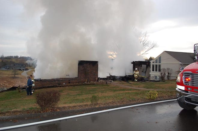 An arson investigation is underway after a fire destroyed a two-story home in eastern Hamblen County on Wednesday morning, Jan. 2, 2018.