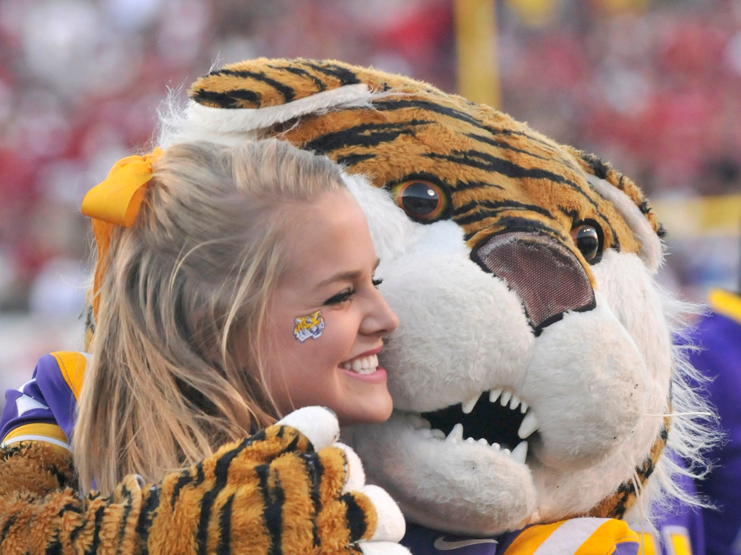A person dressed in the LSU tiger mascot costume hugs a cheerleader during an NCAA college football game against Arkansas in Little Rock, Ark., Saturday, Nov. 27, 2010. (AP Photo/April L Brown)
