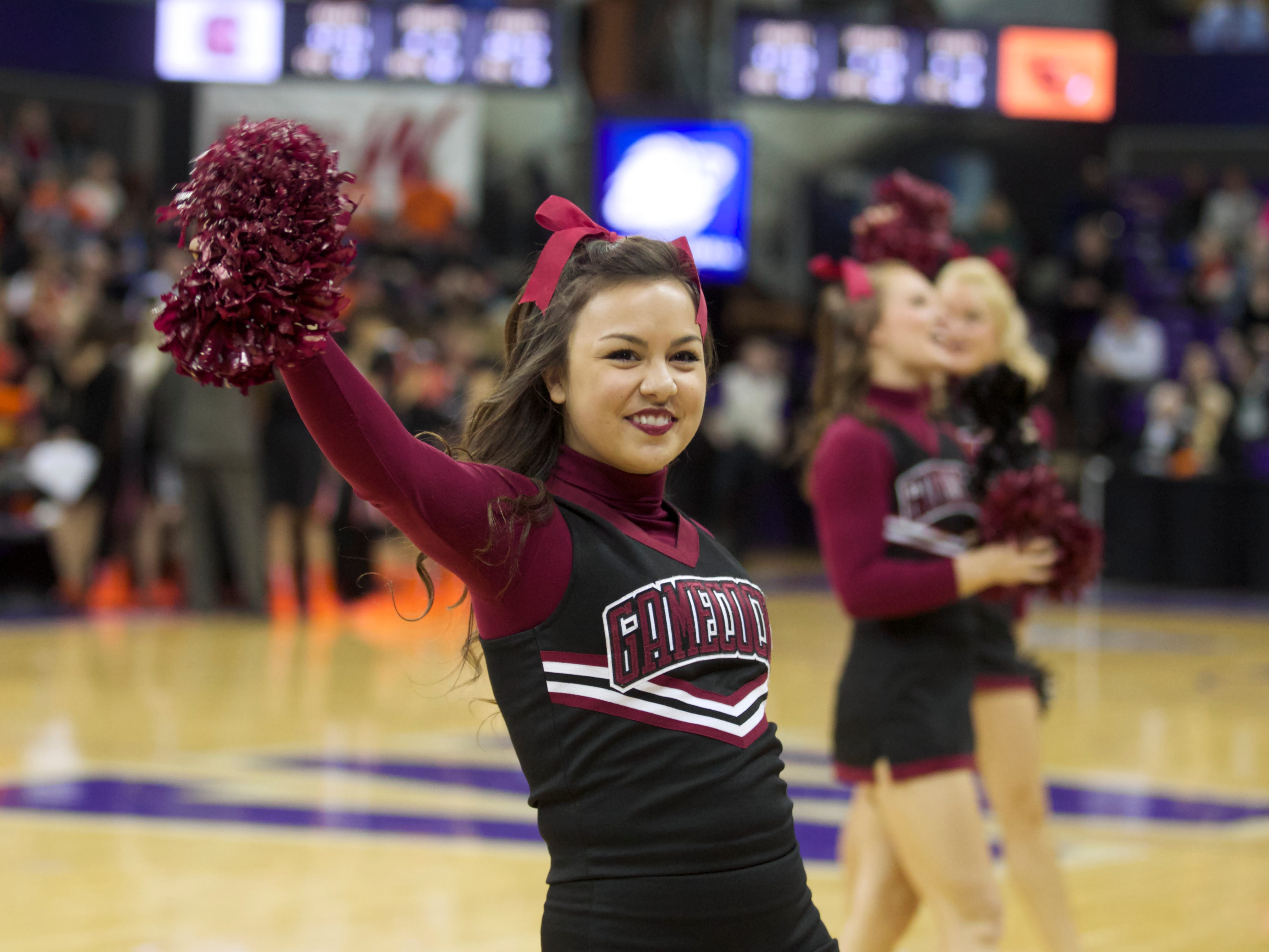 A South Carolina cheerleader performs during the second half of a second-round game against Oregon State in the NCAA women's college basketball tournament Tuesday, March 25, 2014, in Seattle. South Carolina won 78-69. (AP Photo/Stephen Brashear)