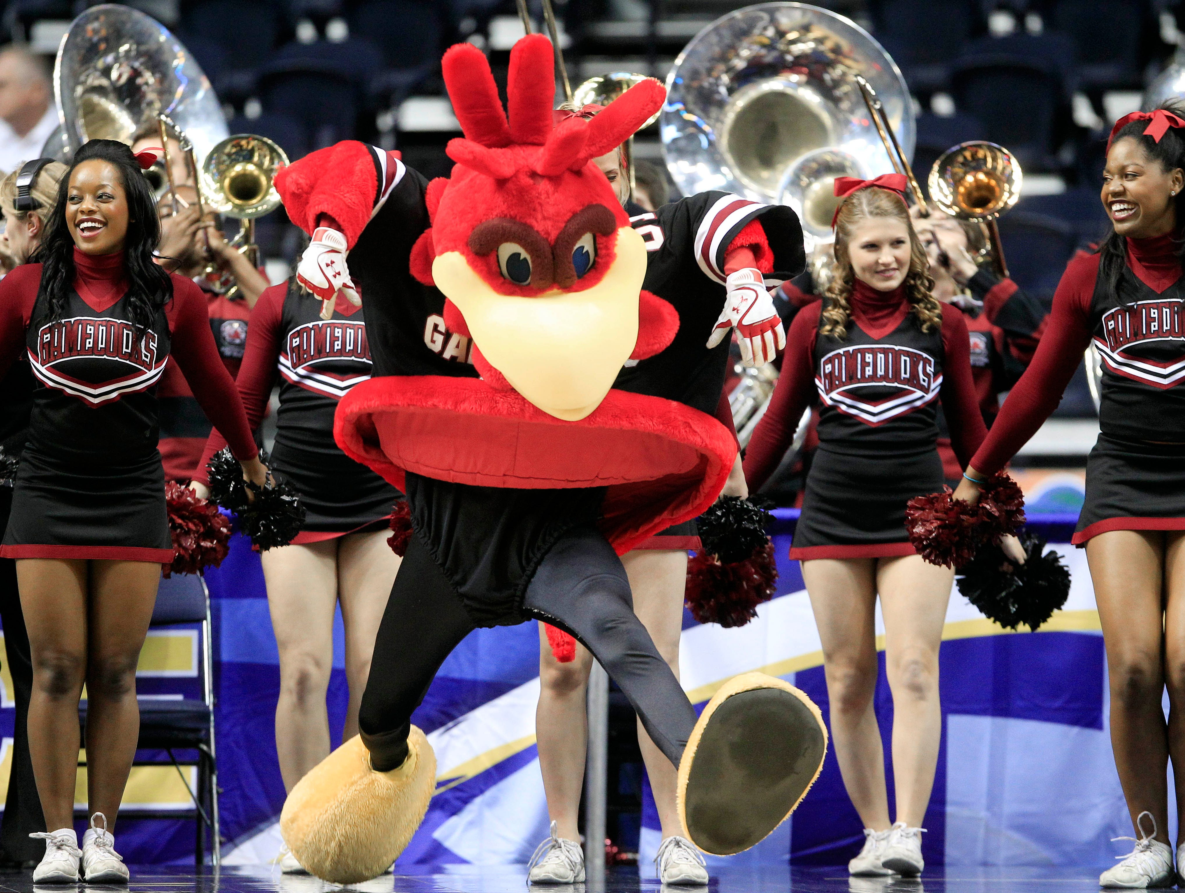 Cocky, the South Carolina mascot, dances with the cheerleaders in the first half of South Carolina's NCAA basketball game against Alabama at the women's Southeastern Conference tournament Thursday, March 1, 2012, in Nashville, Tenn. (AP Photo/Mark Humphrey)
