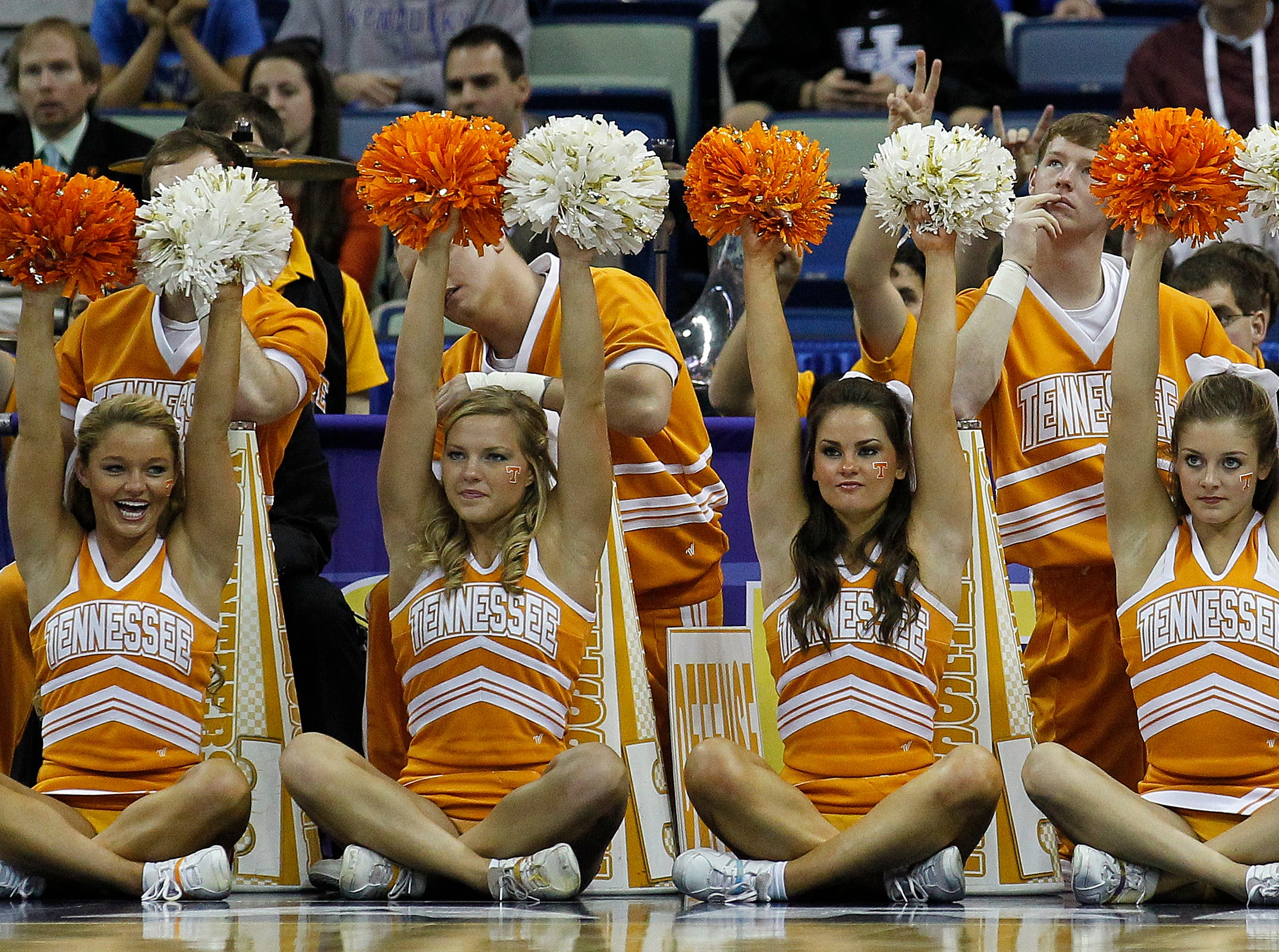 Tennessee cheerleaders are pictured during the second half of an NCAA college basketball game against Mississippi in the second round of the 2012 Southeastern Conference tournament at the New Orleans Arena in New Orleans, Friday, March 9, 2012. (AP Photo/Bill Haber)