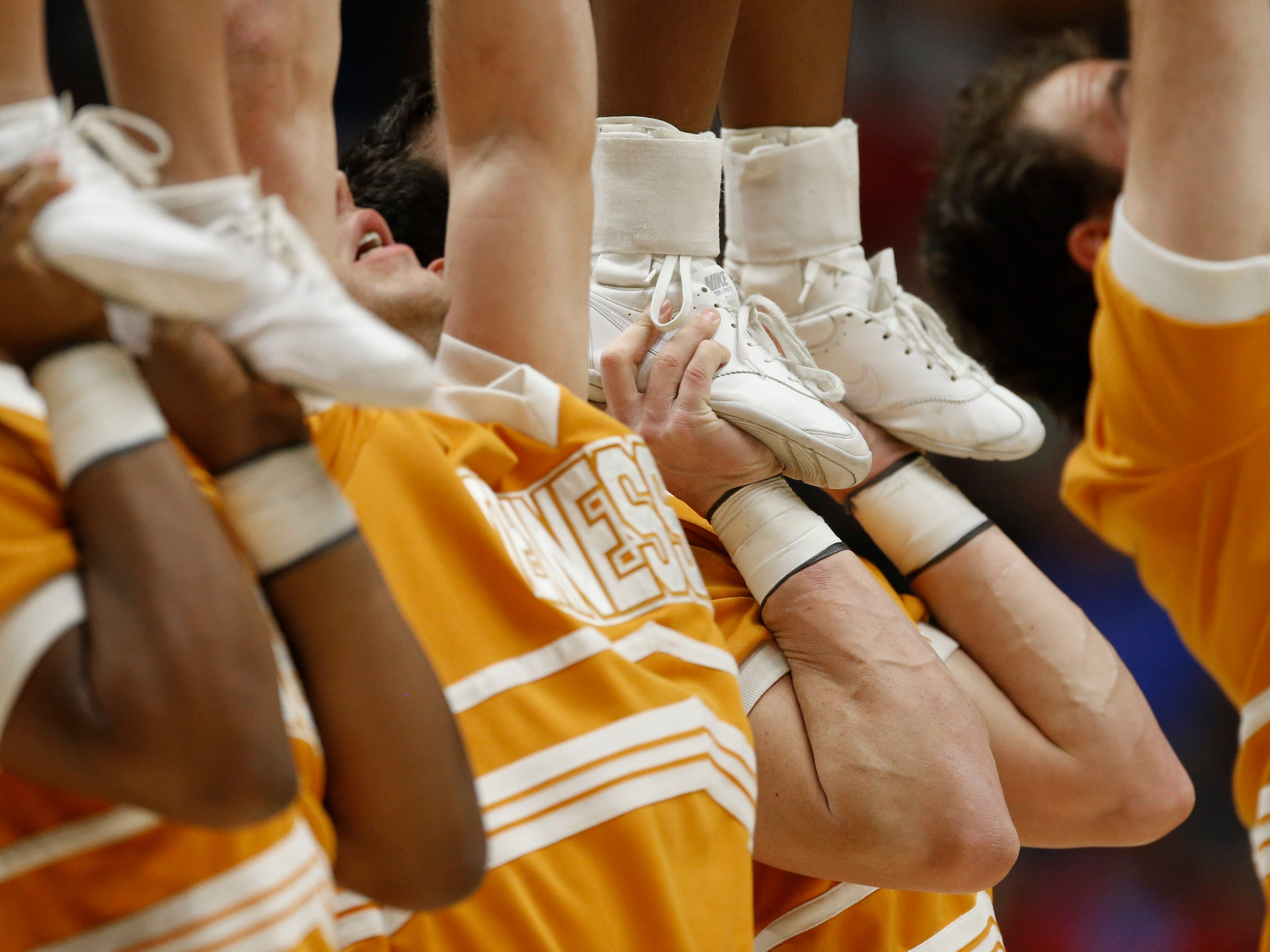 Tennessee cheerleaders perform during the first half of an NCAA college basketball gameagainst LSU in the Southeastern Conference tournament in Nashville, Tenn., Friday, March 11, 2016. (AP Photo/John Bazemore)