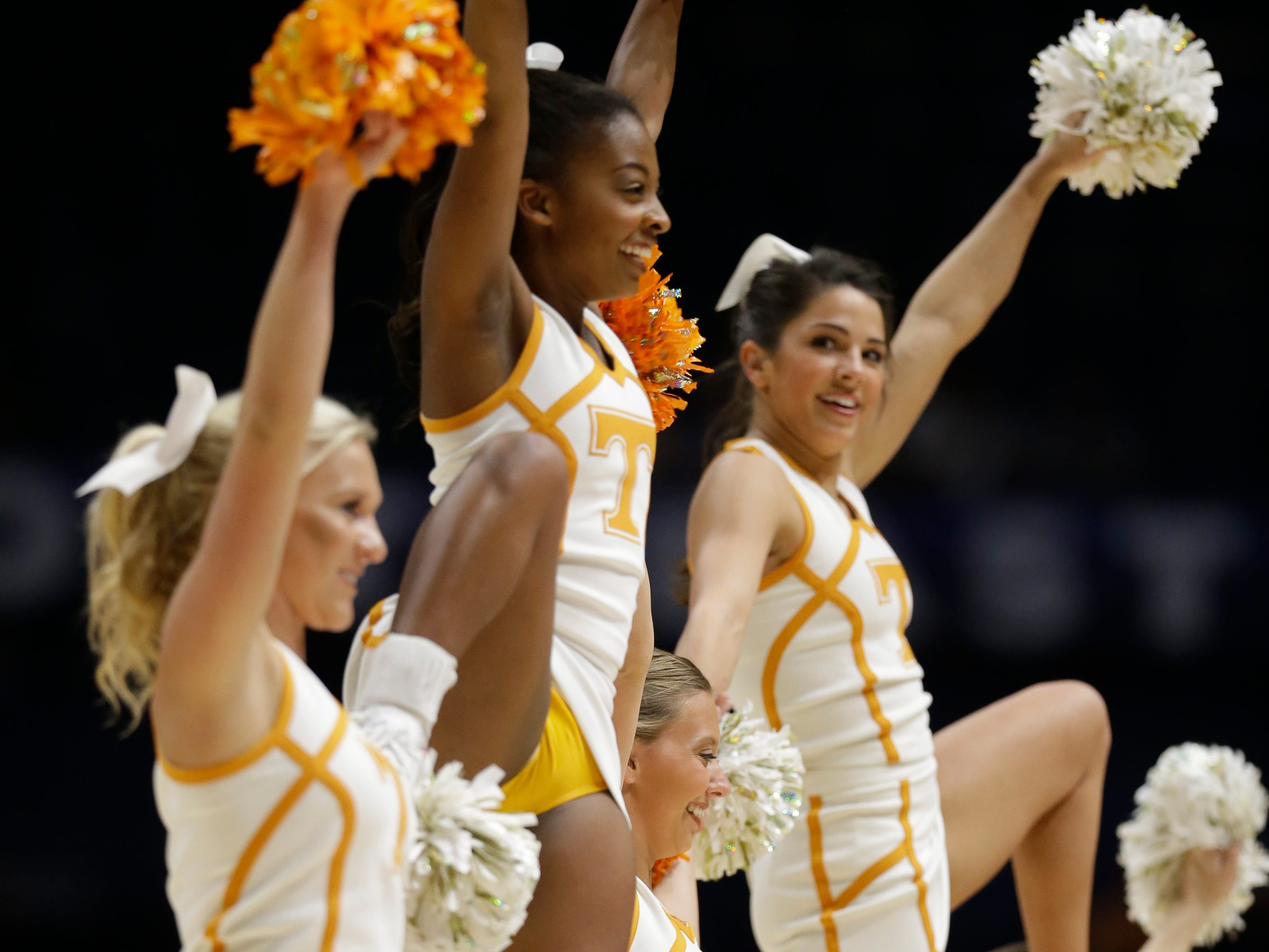 Tennessee cheerleaders perform during the first half of an NCAA college basketball game against Auburn in the Southeastern Conference tournament in Nashville, Tenn., Wednesday, March 9, 2016. (AP Photo/Mark Humphrey)