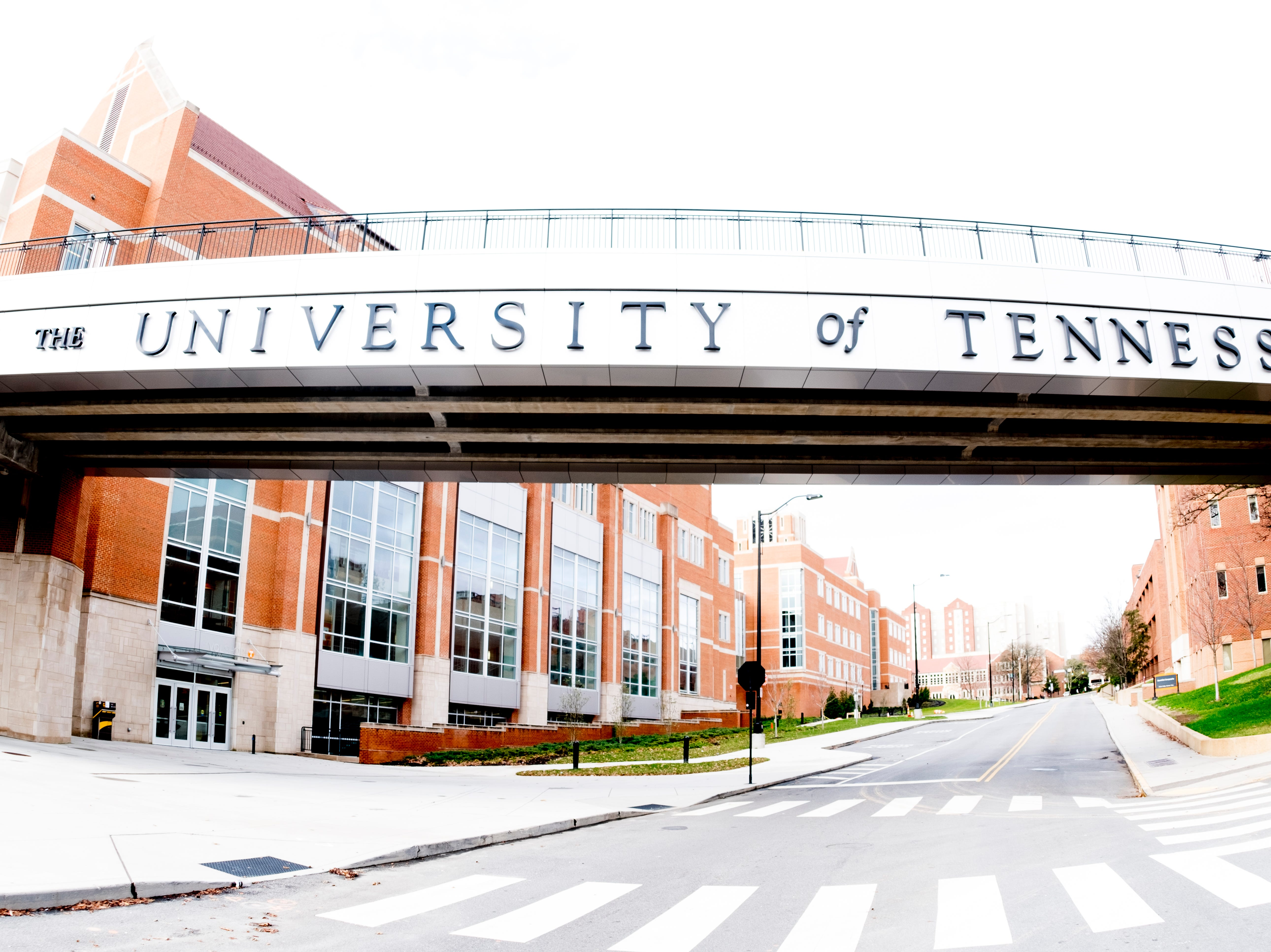 Pedestrian Bridge along Philip Fulmer Way on the University of Tennessee campus in Knoxville, Tennessee on Tuesday, January 1, 2019.
