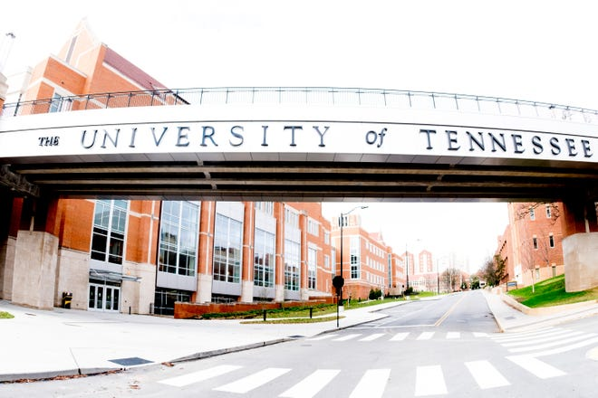 The pedestrian bridge stretches along Philip Fulmer Way on the University of Tennessee campus in Knoxville.