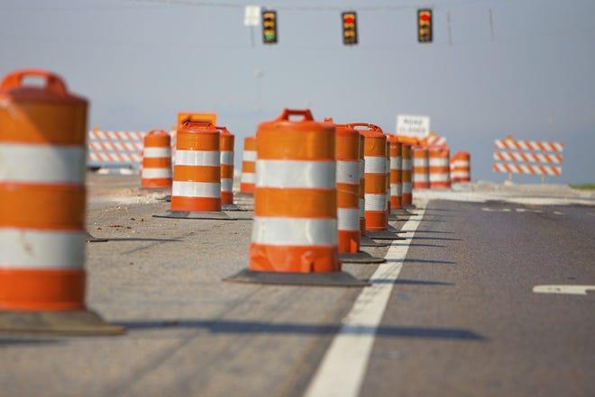 Line of road cones illustration