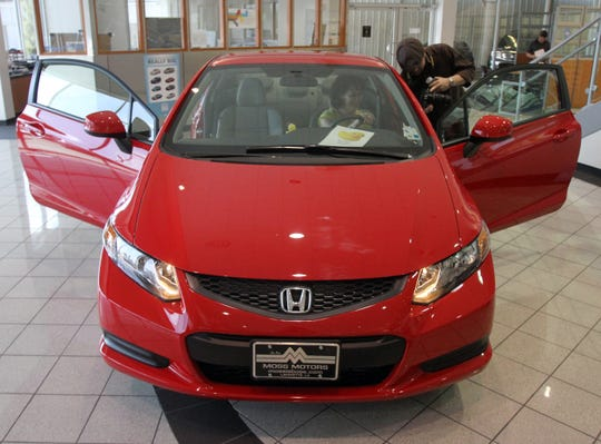 A Honda Civic is shown in 2012 at Moss Motors in Lafayette.