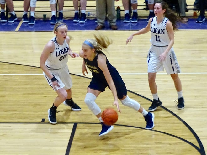 Lancaster's Anna Hartig drives to the basket against Logan on Wednesday. Hartig finished with 26 points to help lead the Golden Gales to a 53-44 win.