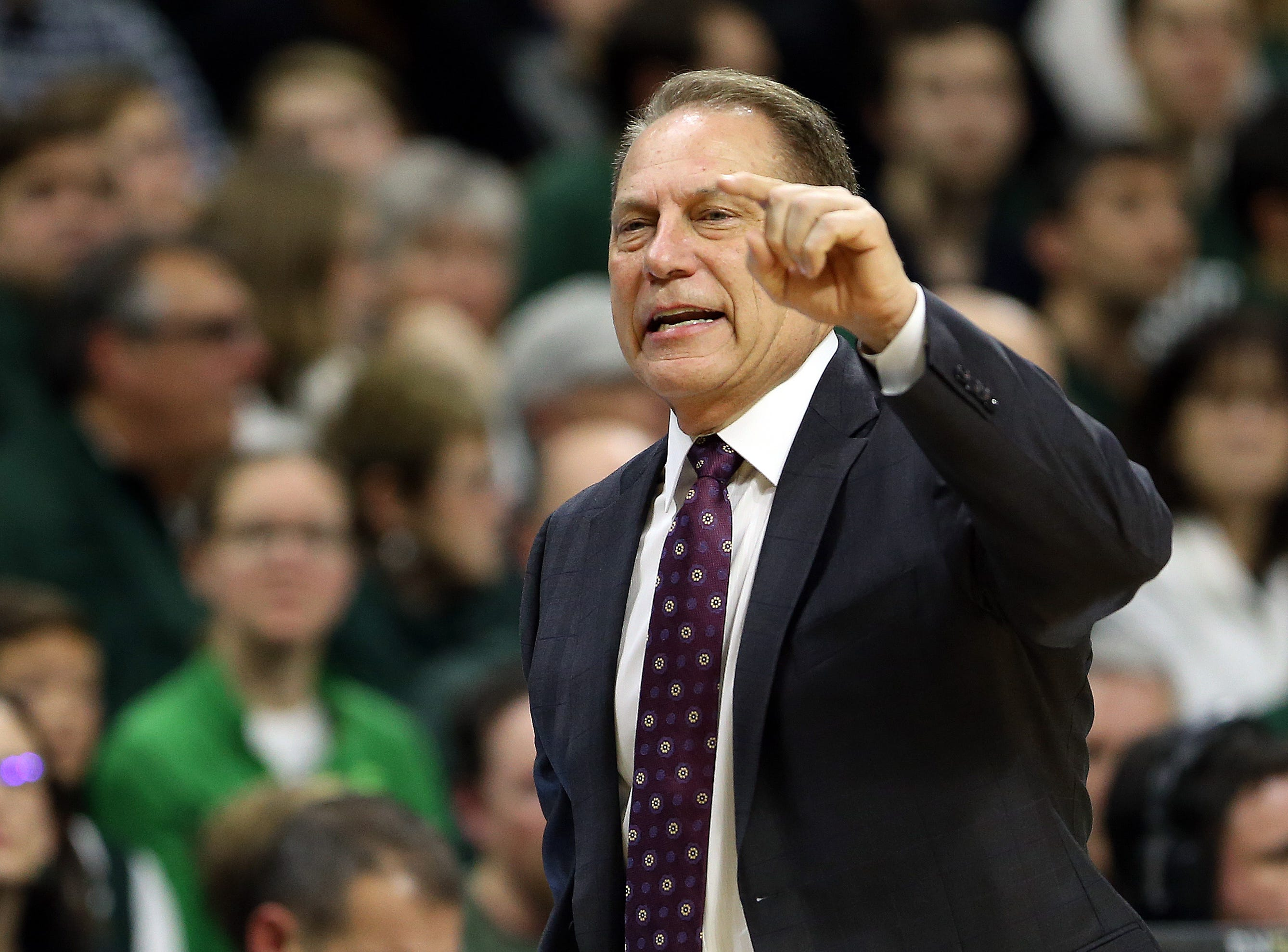 Jan 2, 2019; East Lansing, MI, USA; Michigan State Spartans head coach Tom Izoo reacts during the first half of a game against the Northwestern Wildcats at the Breslin Center. Mandatory Credit: Mike Carter-USA TODAY Sports