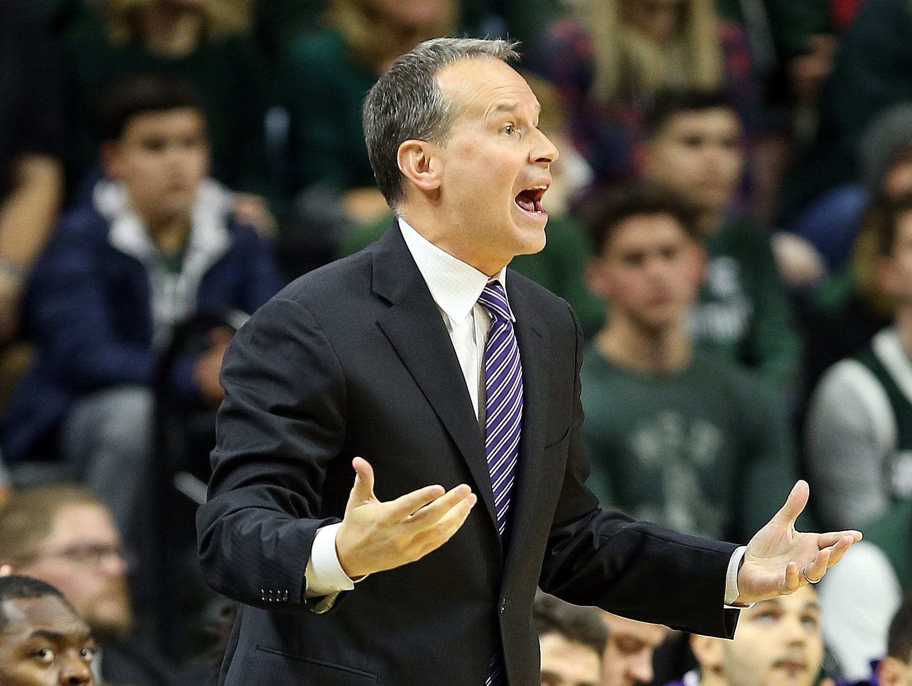 Jan 2, 2019; East Lansing, MI, USA; Northwestern Wildcats head coach Chris Collins reacts during the first half of a game against the Michigan State Spartans at the Breslin Center. Mandatory Credit: Mike Carter-USA TODAY Sports