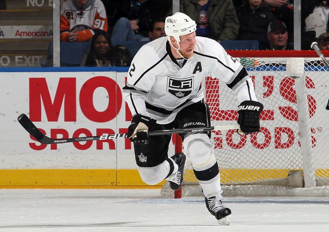 Matt Greene #2 of the Los Angeles Kings in action against the New York Islanders on February 11, 2012 at Nassau Coliseum in Uniondale, New York. The Islanders defeated the Kings 2-1 in overtime.