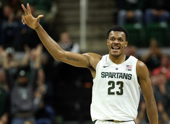 Jan 2, 2019; East Lansing, MI, USA; Michigan State Spartans forward Xavier Tillman (23) reacts during the first half of a game against the Northwestern Wildcats at the Breslin Center. Mandatory Credit: Mike Carter-USA TODAY Sports