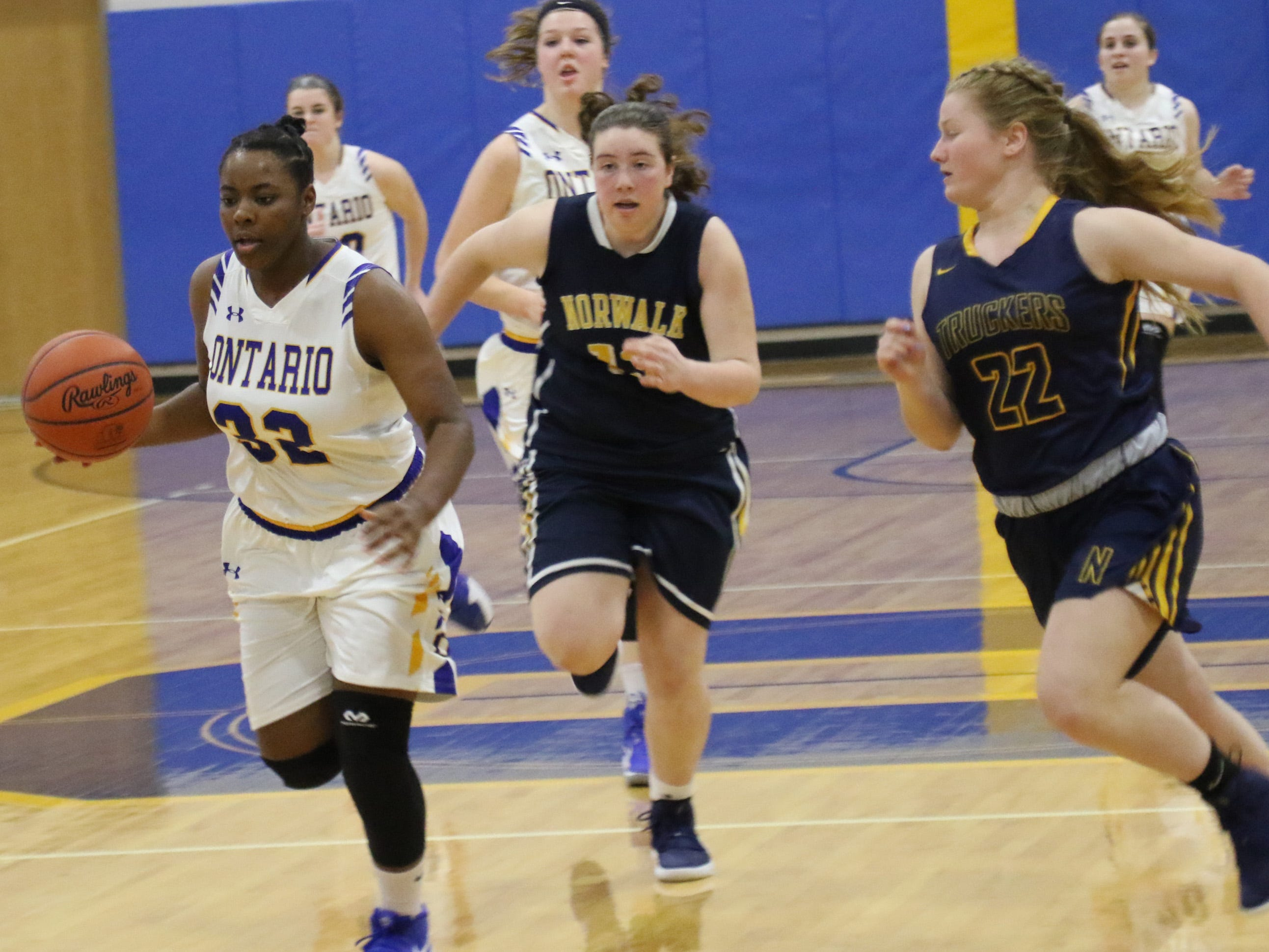 Ontraio's Mecca Sewell moves the ball while playing against Norwalk on Wednesday night.