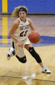 Ontario's Carleigh Pearson moves the ball while playing against Norwalk on Wednesday night.