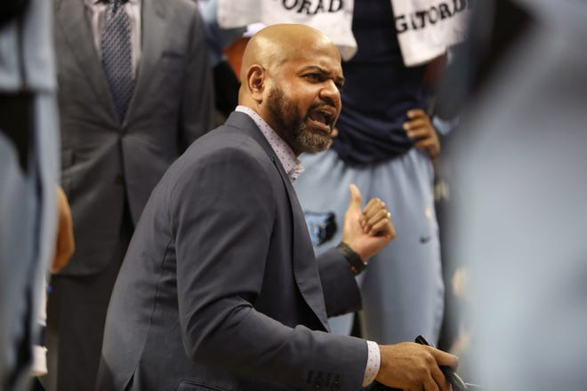 Memphis Grizzlies Head Coach  J.B. Bickerstaff talks to his team during a timeout in their game against the Detroit Pistons at the FedExForum on Wednesday, January 2, 2019.