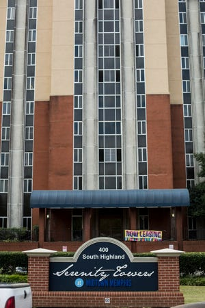 September 17, 2015 - The main entrance to the Serenity Towers on Highland are seen. The Global Ministries Foundation Preservation of Affordability Corp. is asking the county to accept reimbursement funds for its HUD subsidized apartments at the Serenity Towers. The property is now Serenity at Highland and under new management. (Brad Vest/The Commercial Appeal)