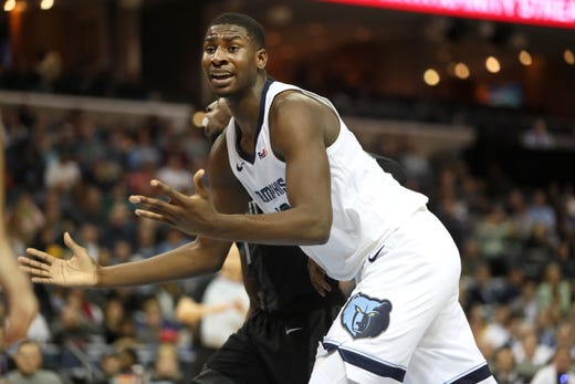 f48f7aa2e35 Memphis Grizzlies forward Jaren Jackson Jr. looks to the refereee for a  fould call as