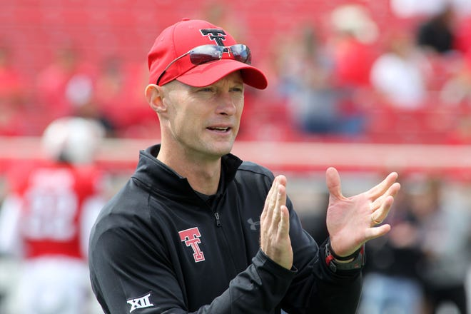 Texas Tech Red Raiders offensive coordinator Kevin Johns on Oct. 20, 2018.
