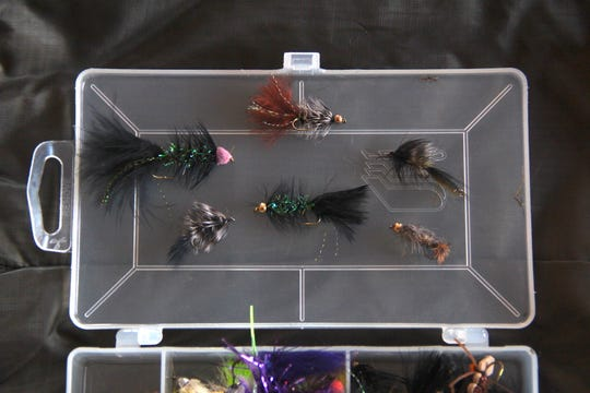 A selection of flies used to tempt trout at Paradise Springs in the Kettle Moraine State Forest - Southern Unit near Eagle.